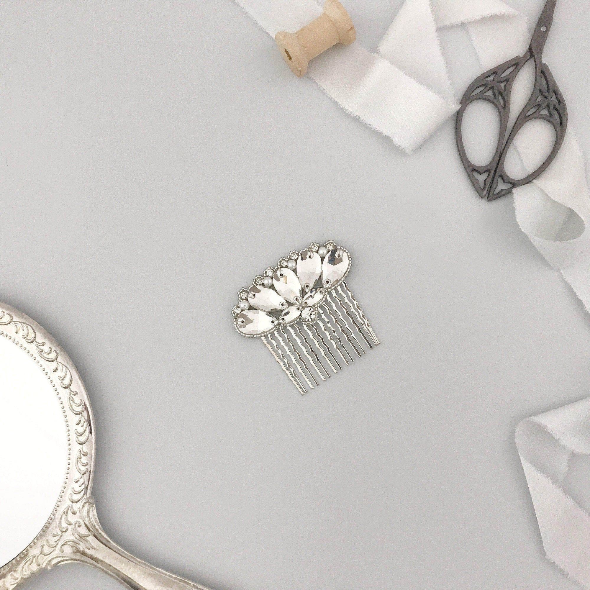 Wedding Haircomb Silver Silver 1920's deco wedding hair comb - 'Irina'