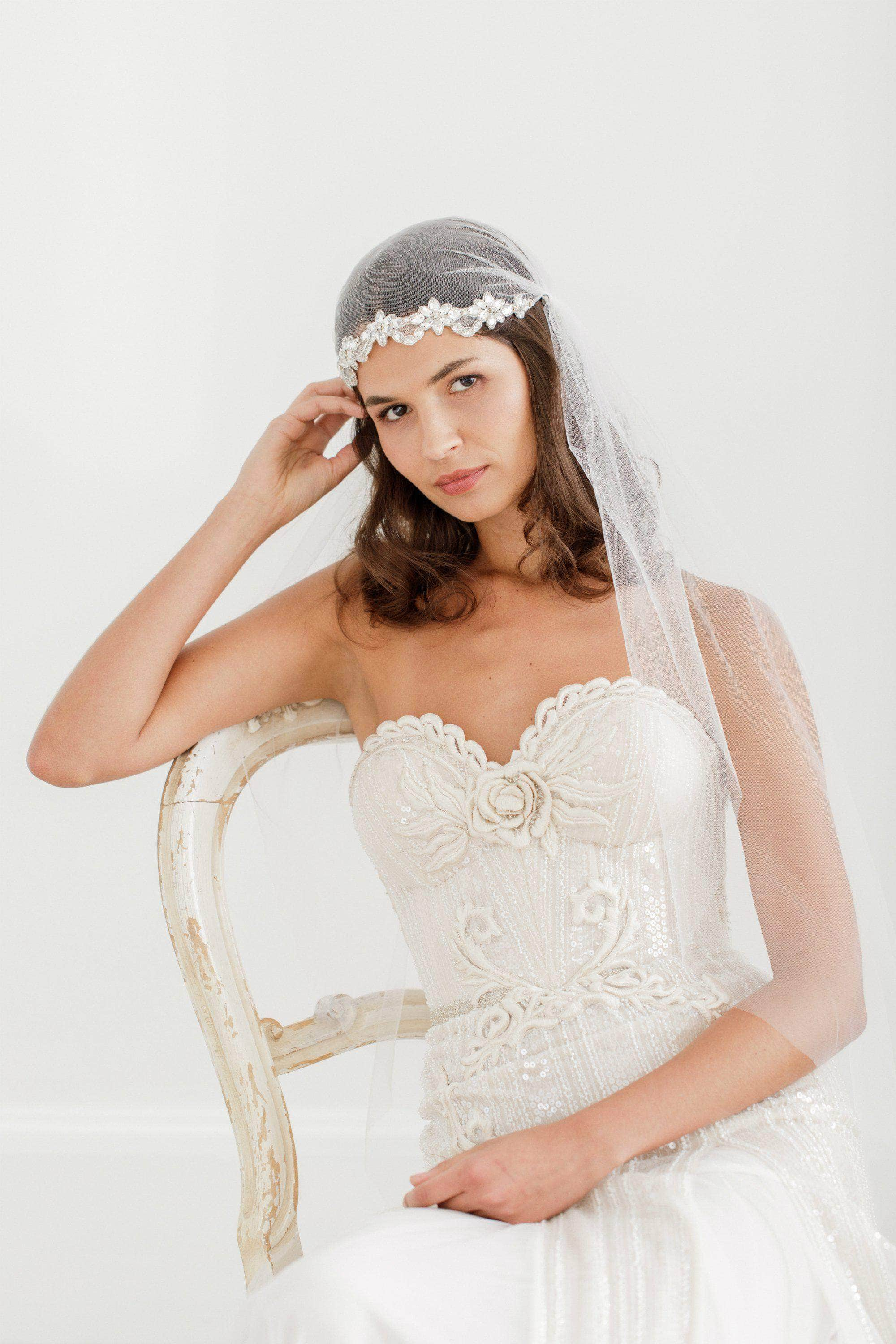 beaded juliet cap veil
