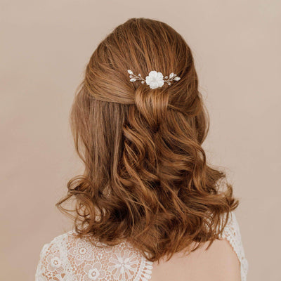 crystal and flower wedding hair pin