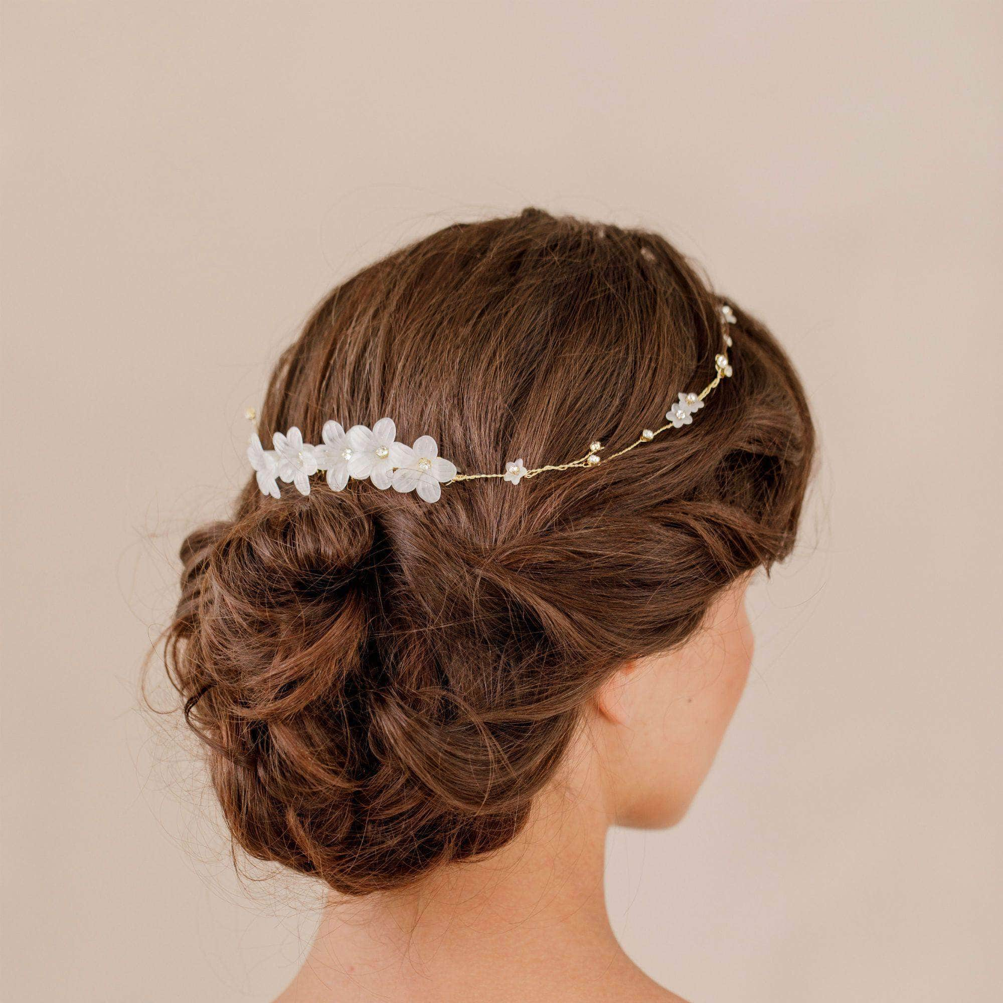 Delicate flower and crystal hair piece