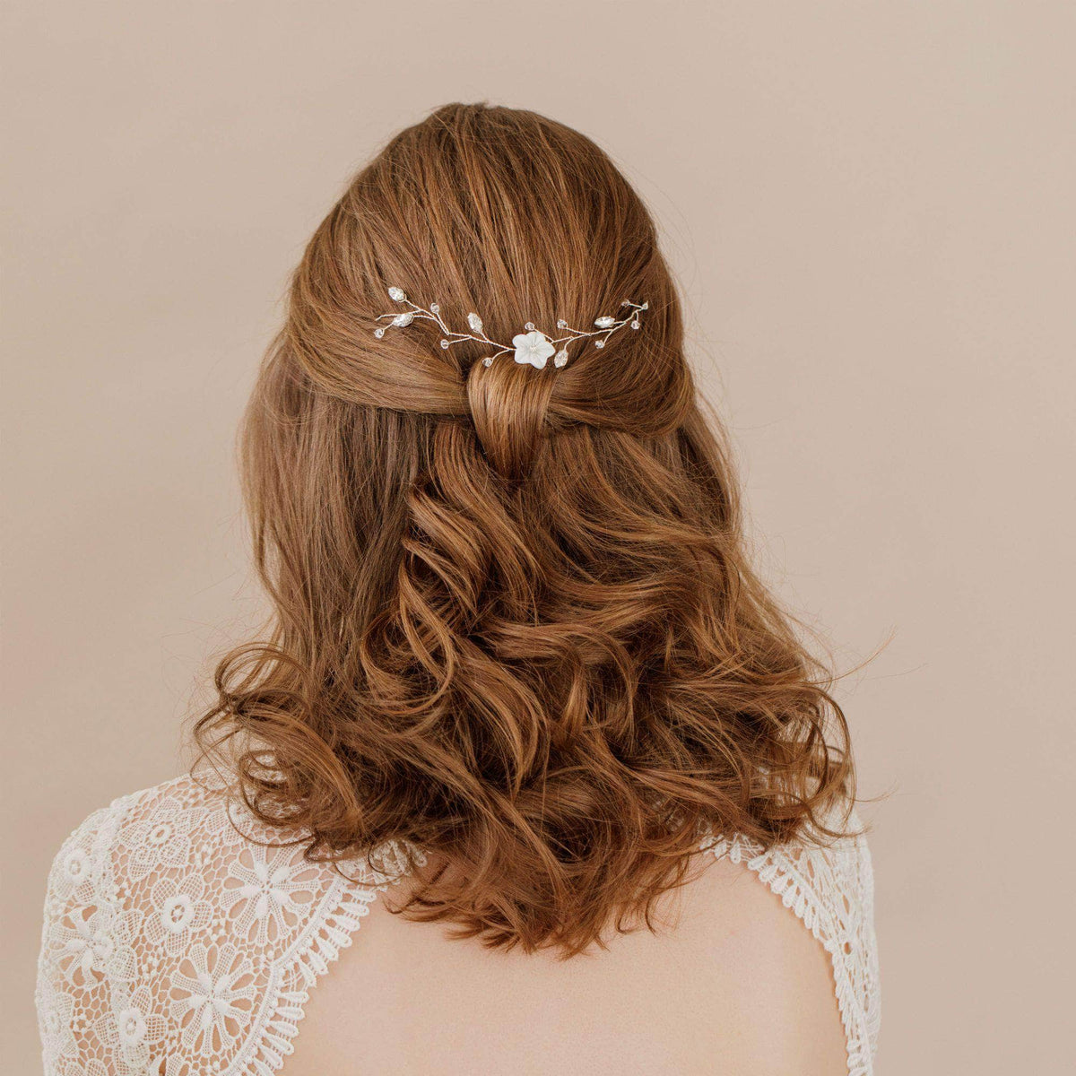 Wedding Hairvine Gold floral medium length hair vine - 'Jaime'