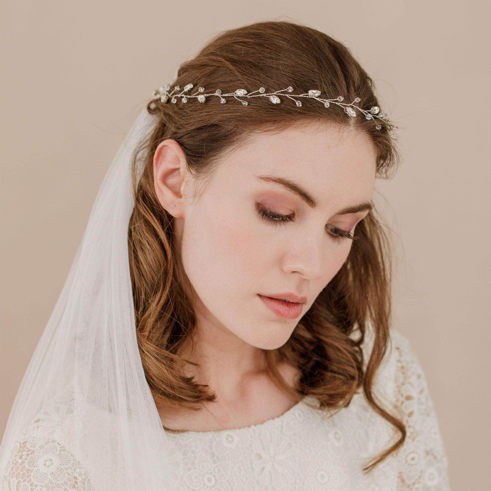 crystal wedding hair vine