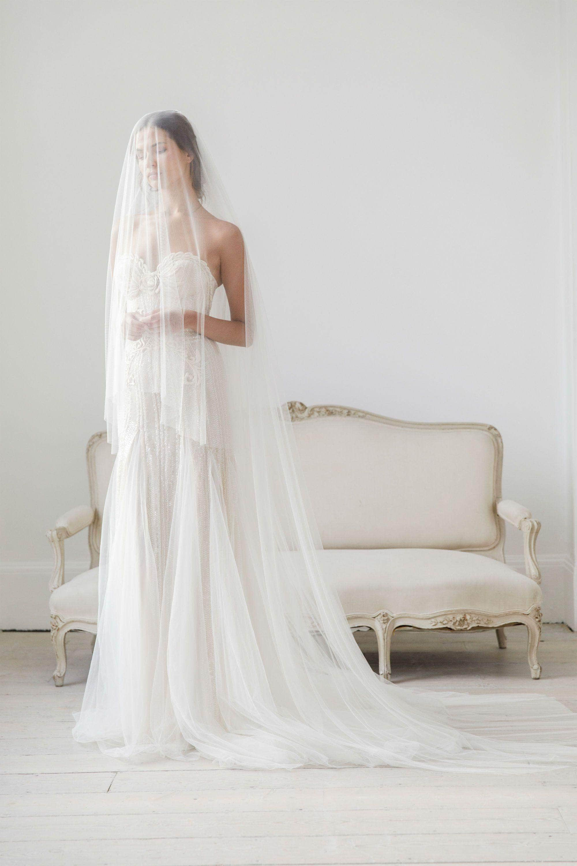 Wedding Veil Cut edge silk style wedding veil with extra long blusher - 'Layla'