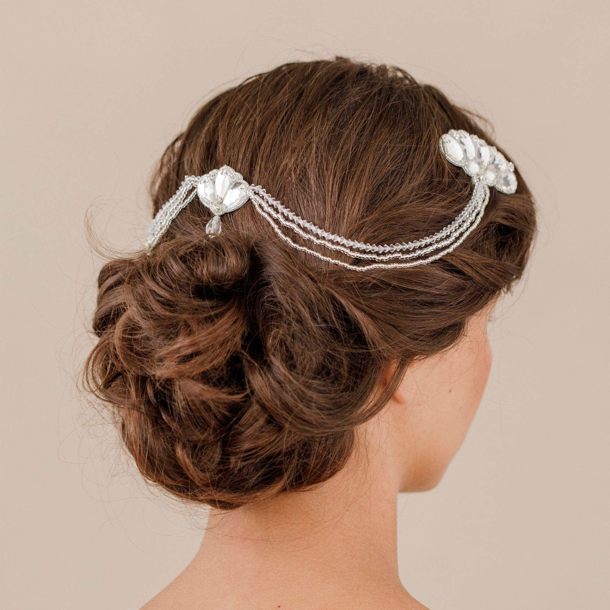 1920s deco wedding hair comb with chains