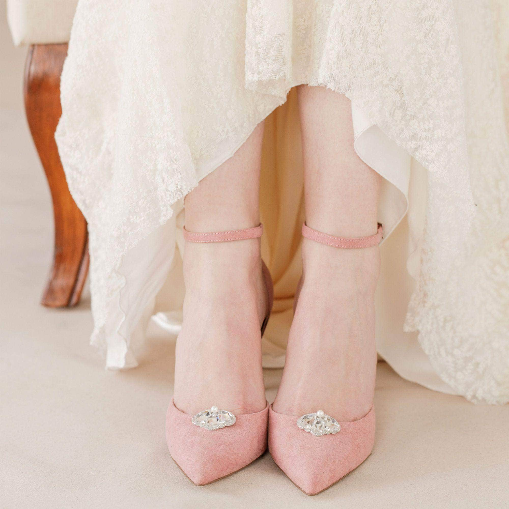 deco crystal shoe clips
