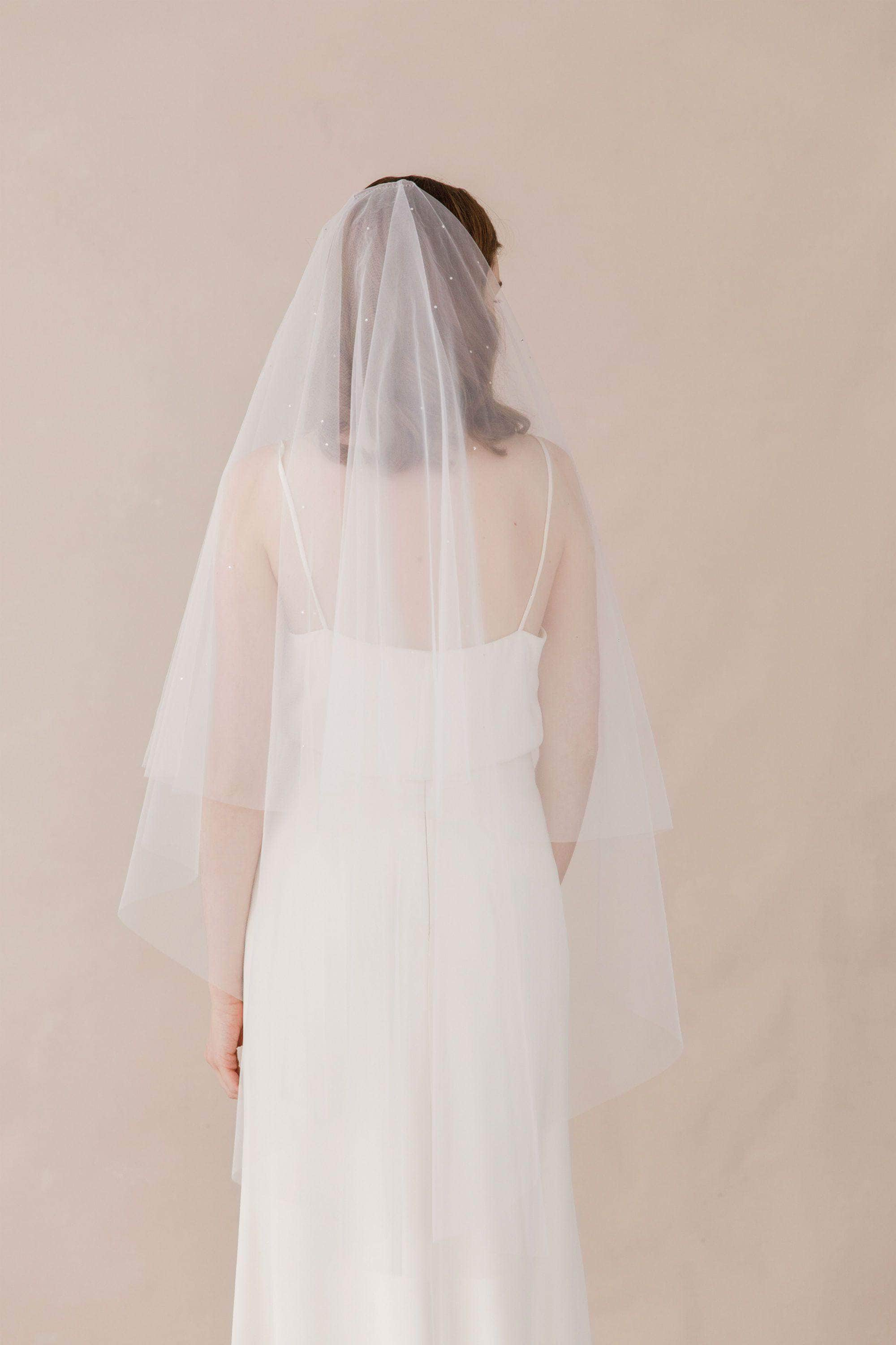 Wedding Veil Illusion drop veil with crystal scatter- Marina
