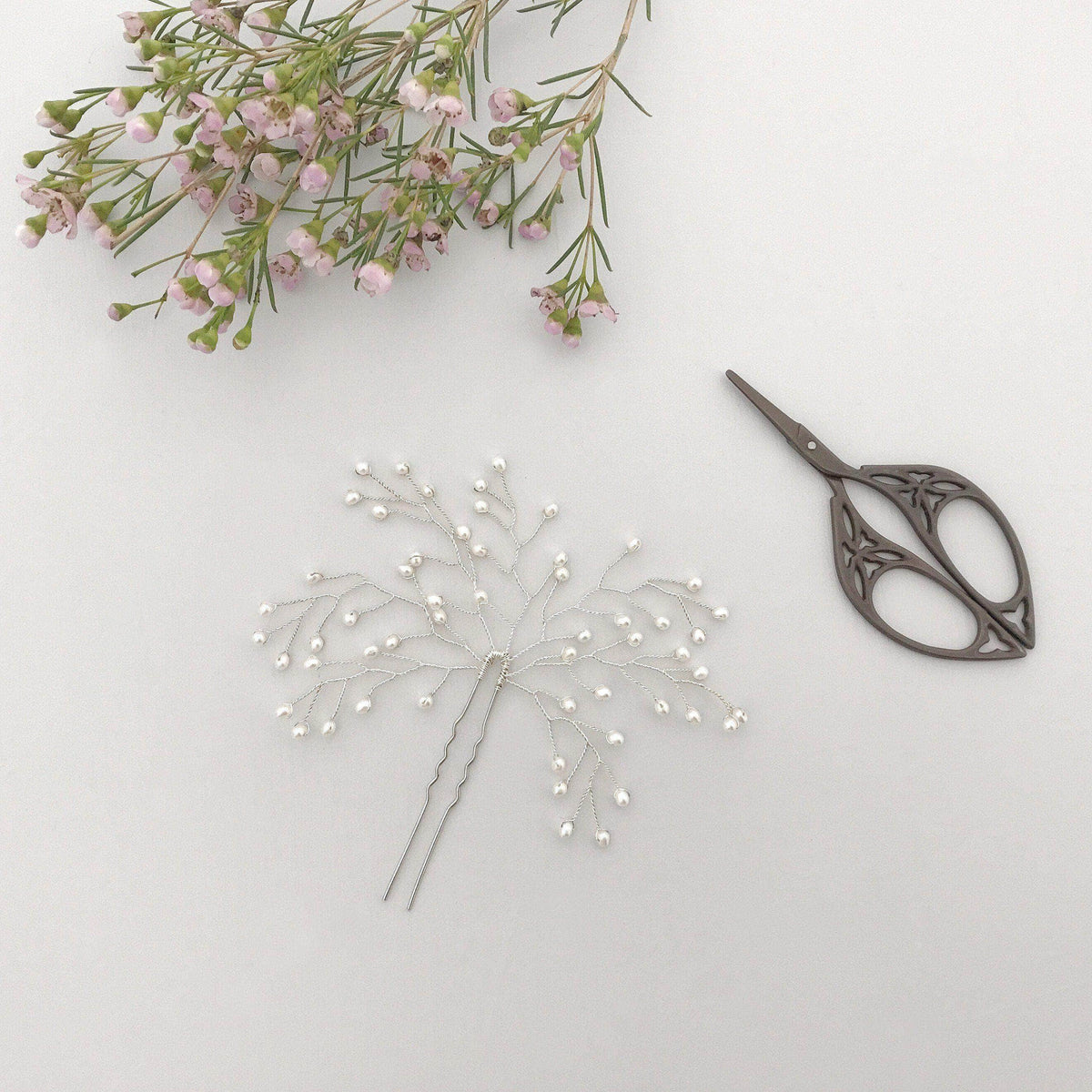 Wedding Hairpin Silver wedding hair pin with pearl spray - 'Eden'