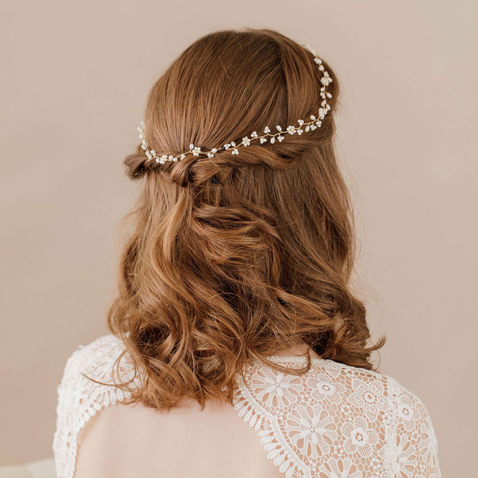 Wedding Hairvine Gold Gold floral multipiece halo - 'Flora'