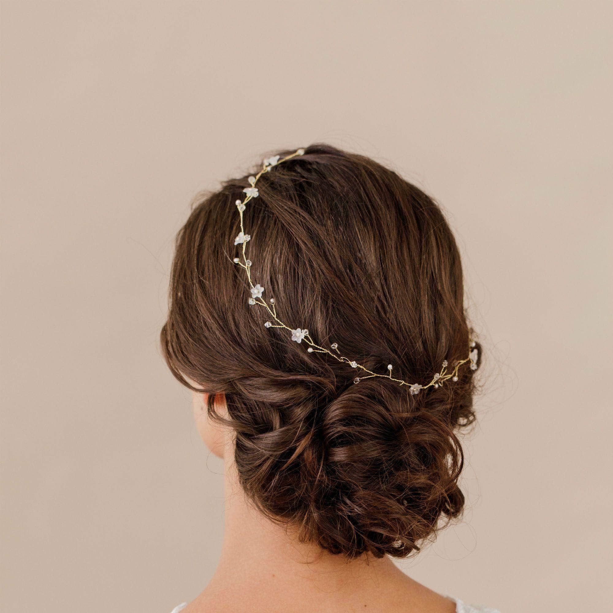 Wedding Hairvine Gold Gold pearl multipiece halo - 'Myra'