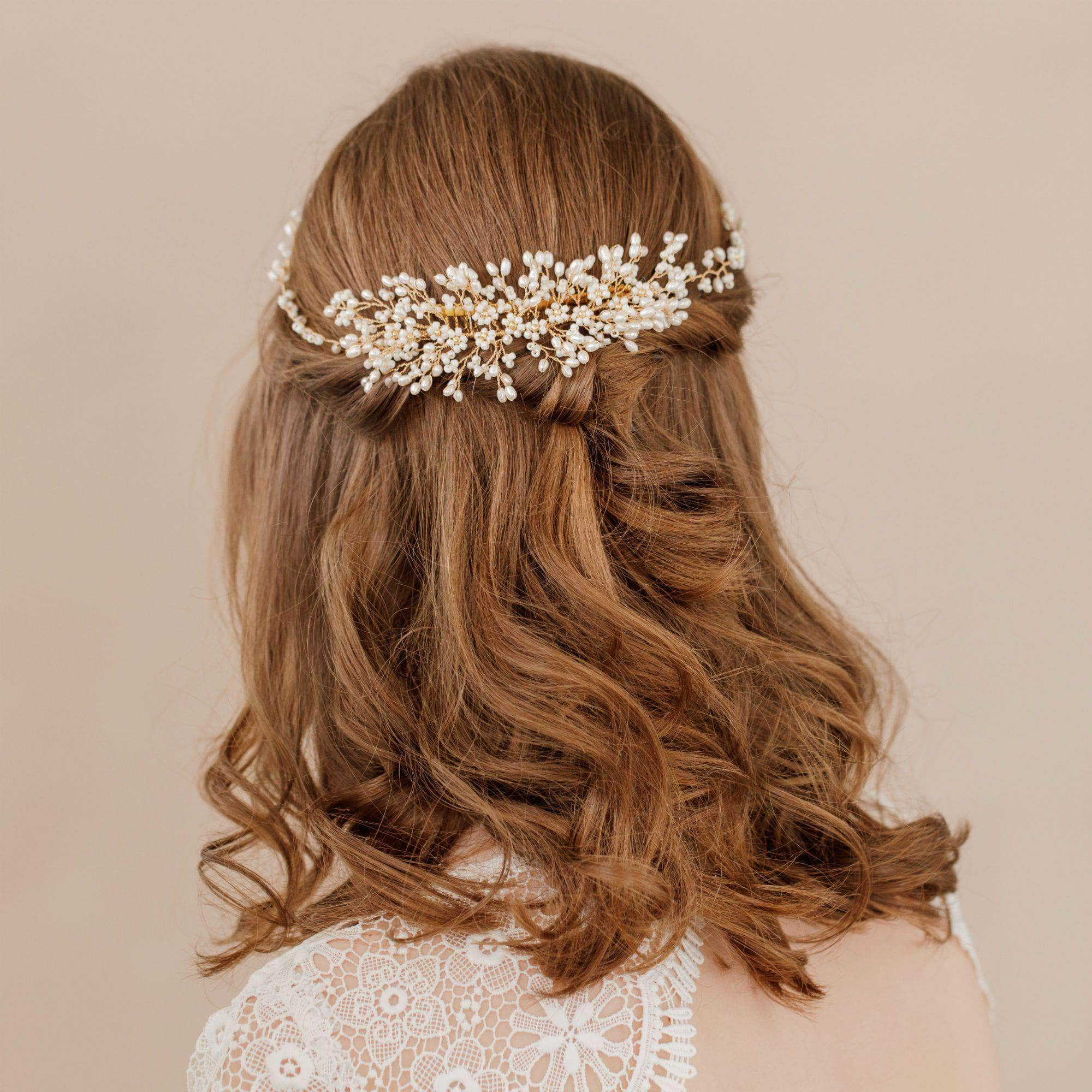 Pearl and ivory flower wedding headpiece