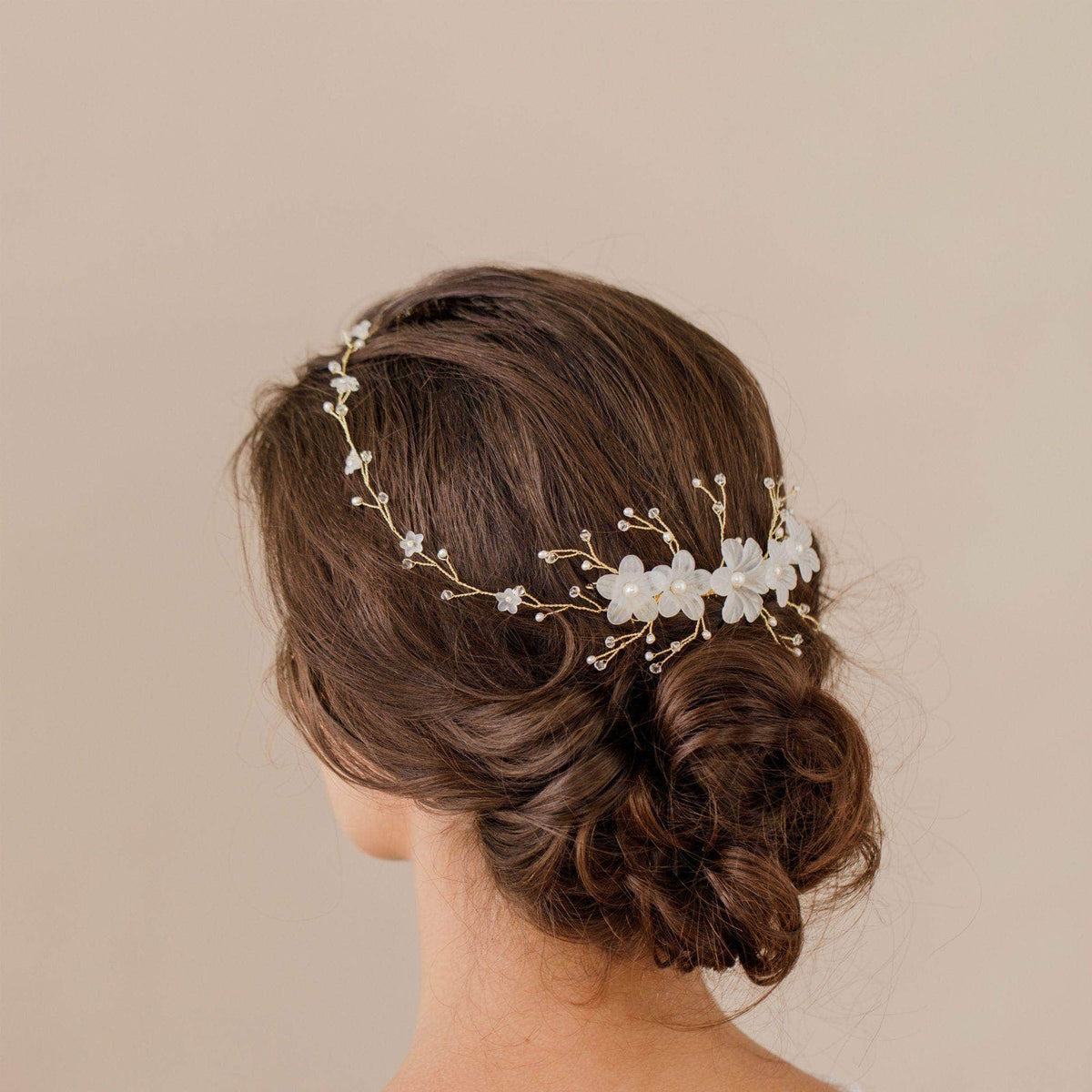Wedding Hairvine Gold pearl multipiece with large centrepiece - 'Myra'