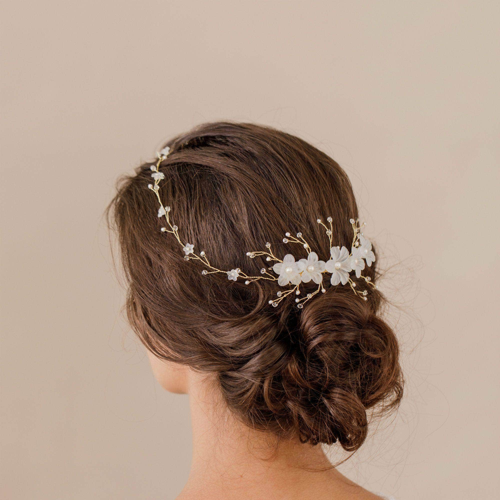 Gold flower pearl wedding hair piece