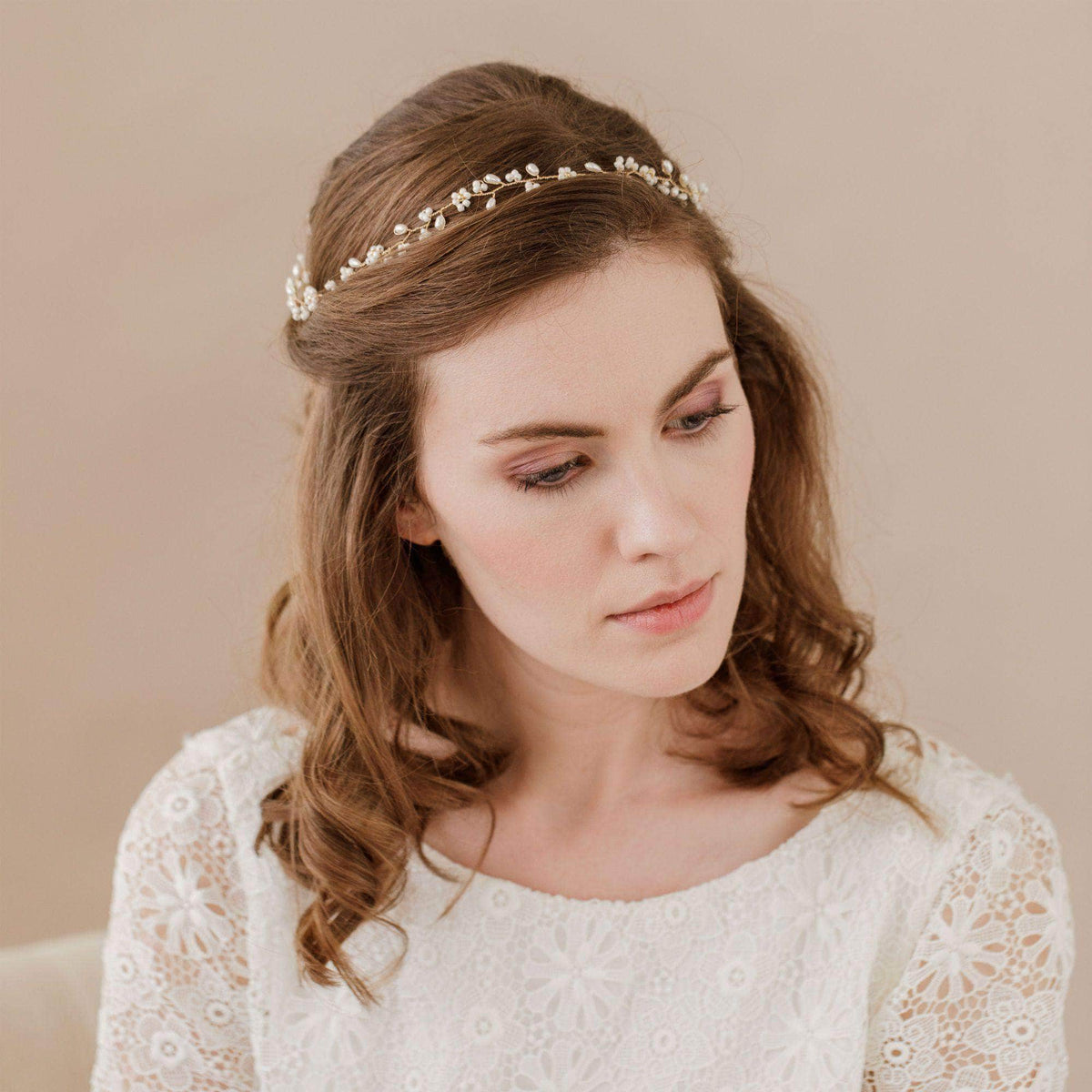 Wedding Hairvine Rose Gold Rose gold floral extra long hair vine - 'Flora'