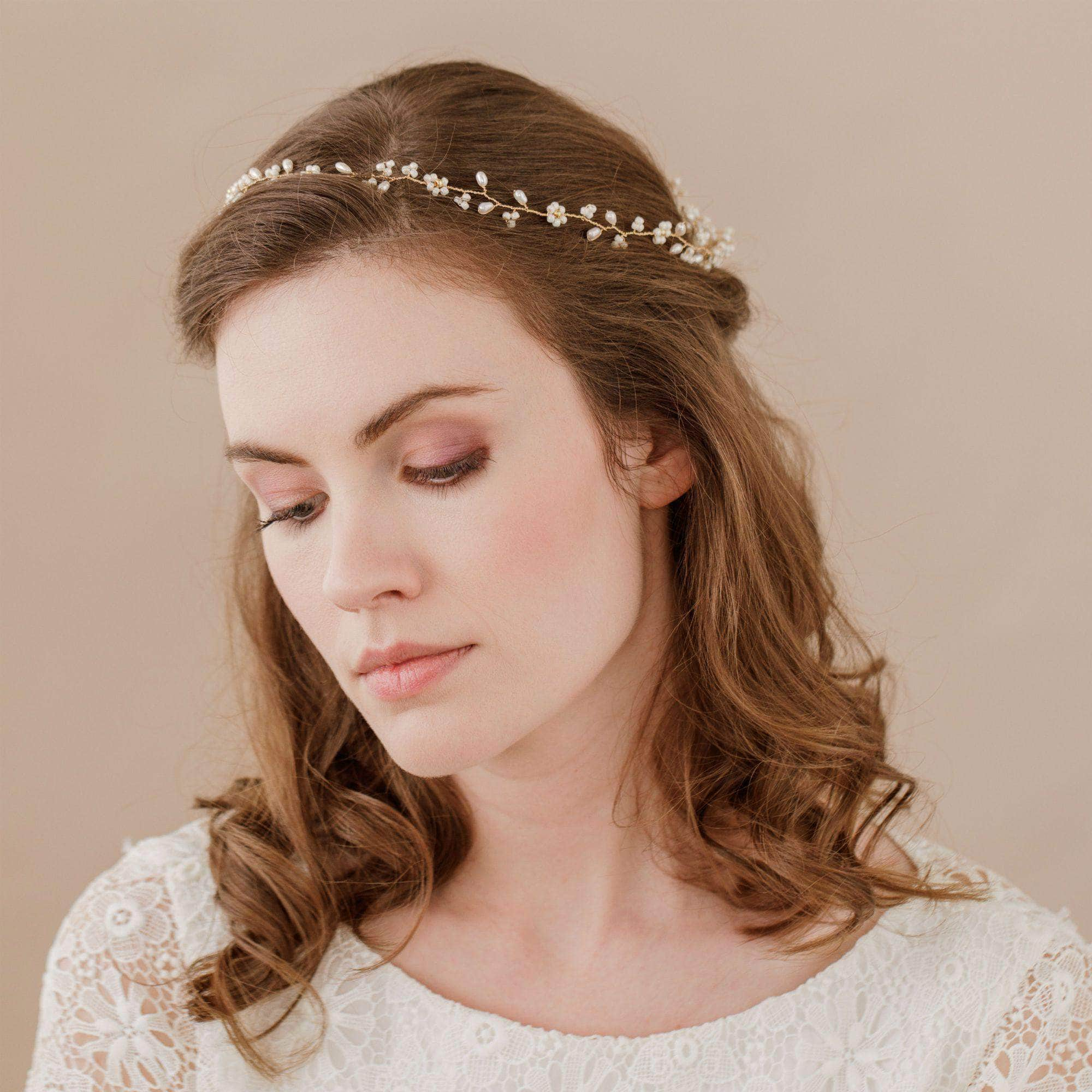 Gold floral extra long hair vine - 'Flora' | Britten Weddings
