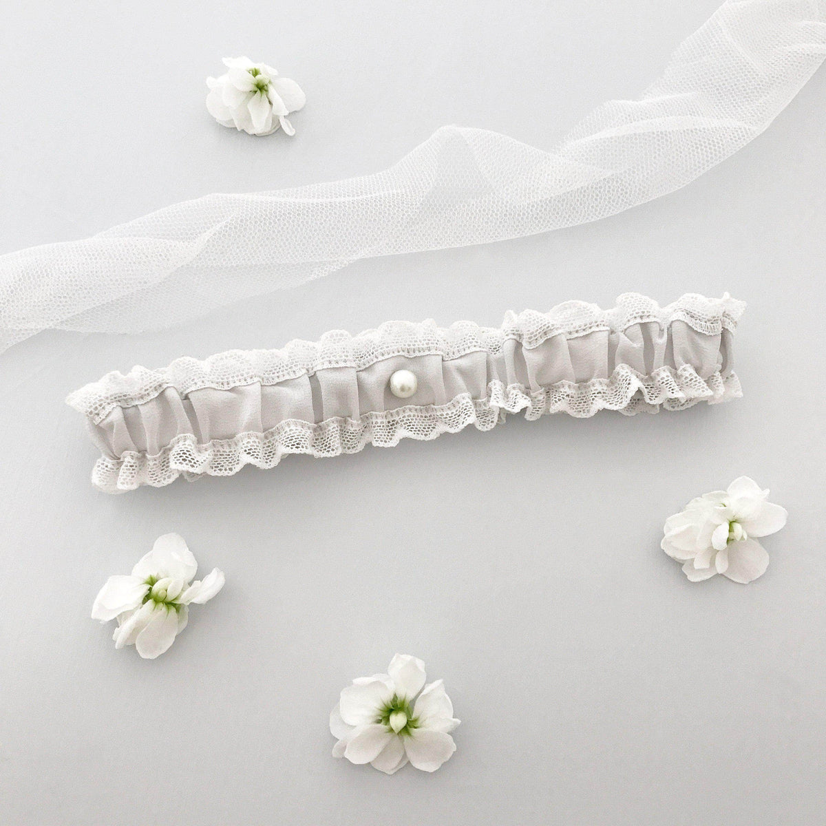 Wedding Garter Pale blue / Extra small 35-40cm (13.5-16 inch) Wedding garter in lace & silk (various colours) - 'Florence'