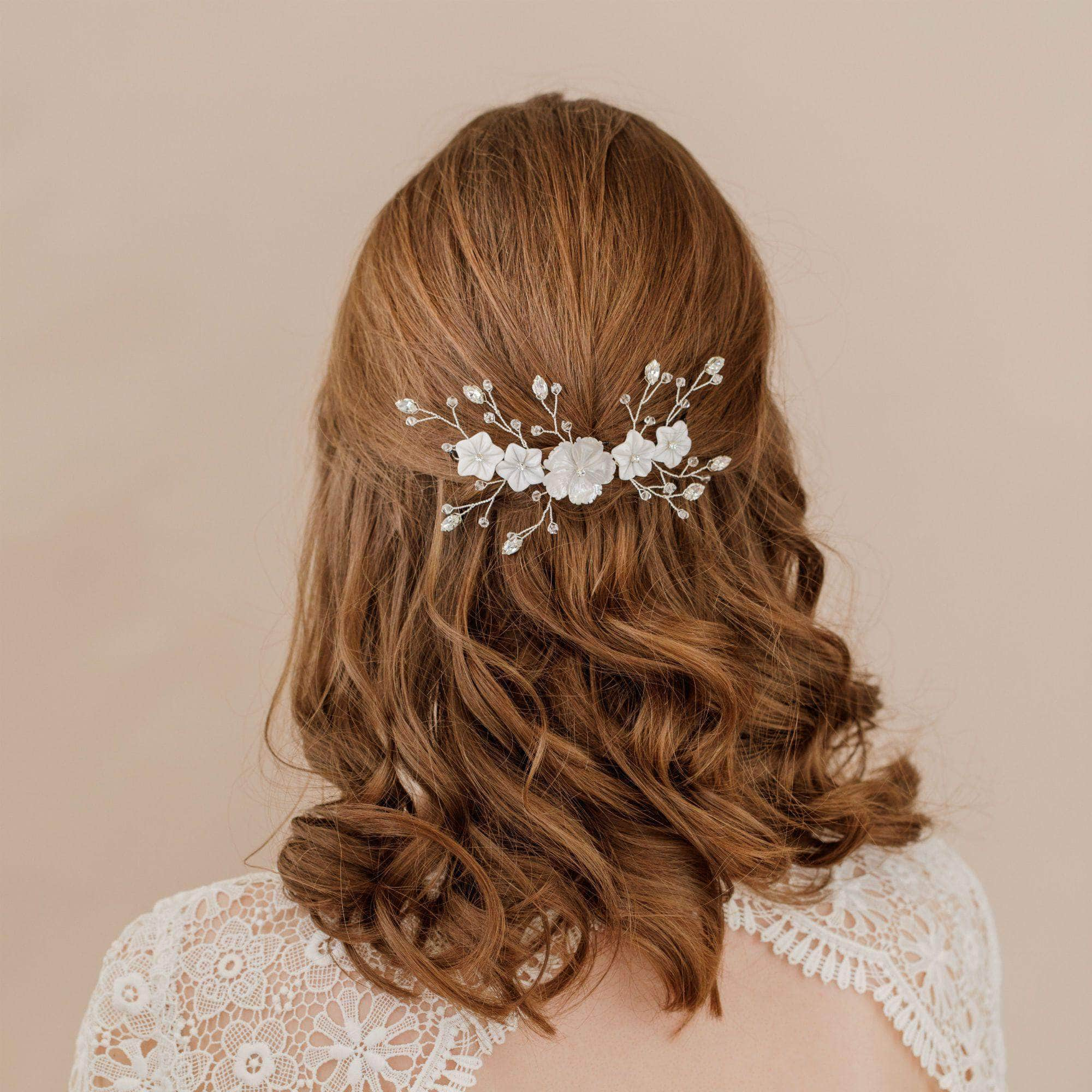 Silver floral hair centrepiece - 'Jaime' | Britten Weddings