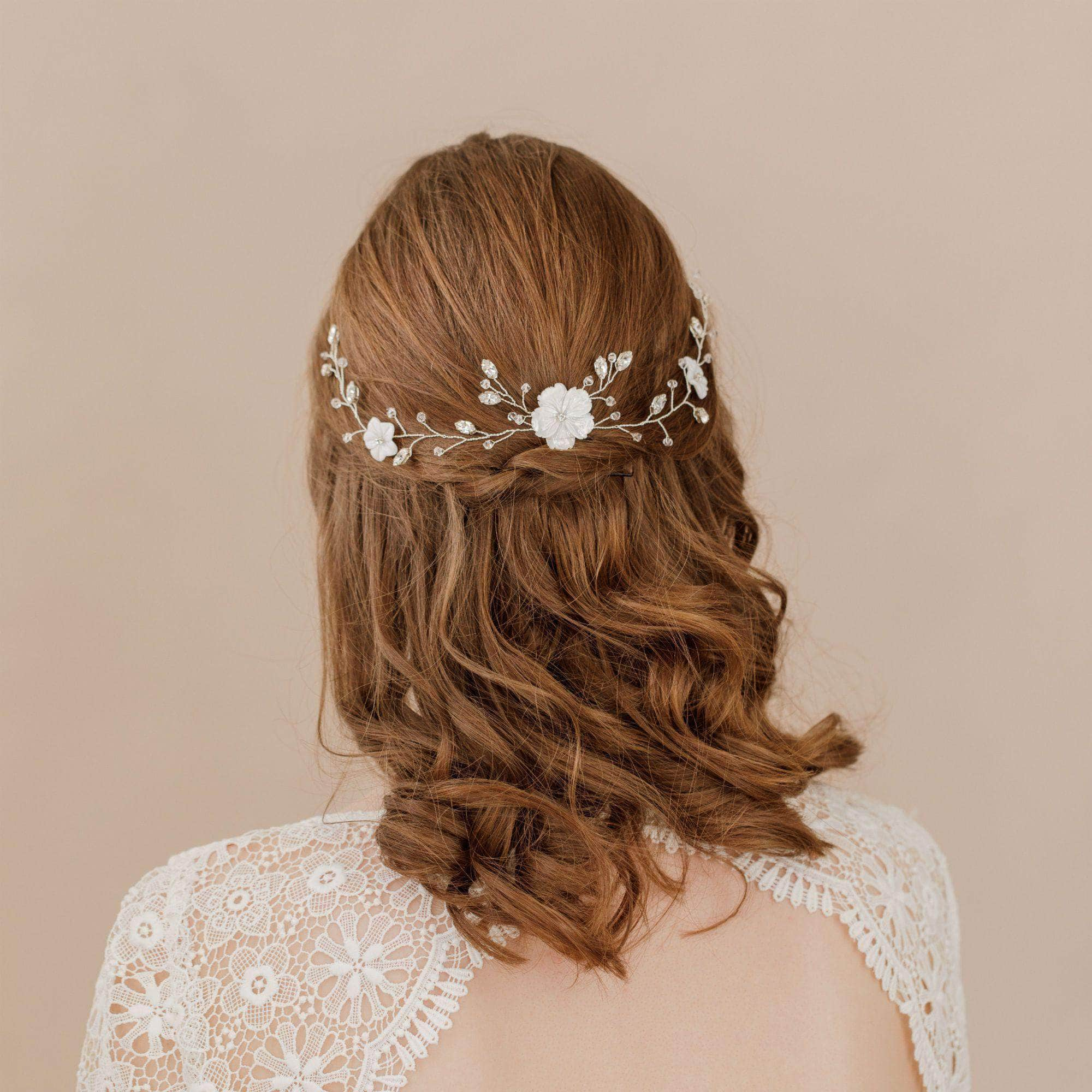 Silver floral crystal headpiece