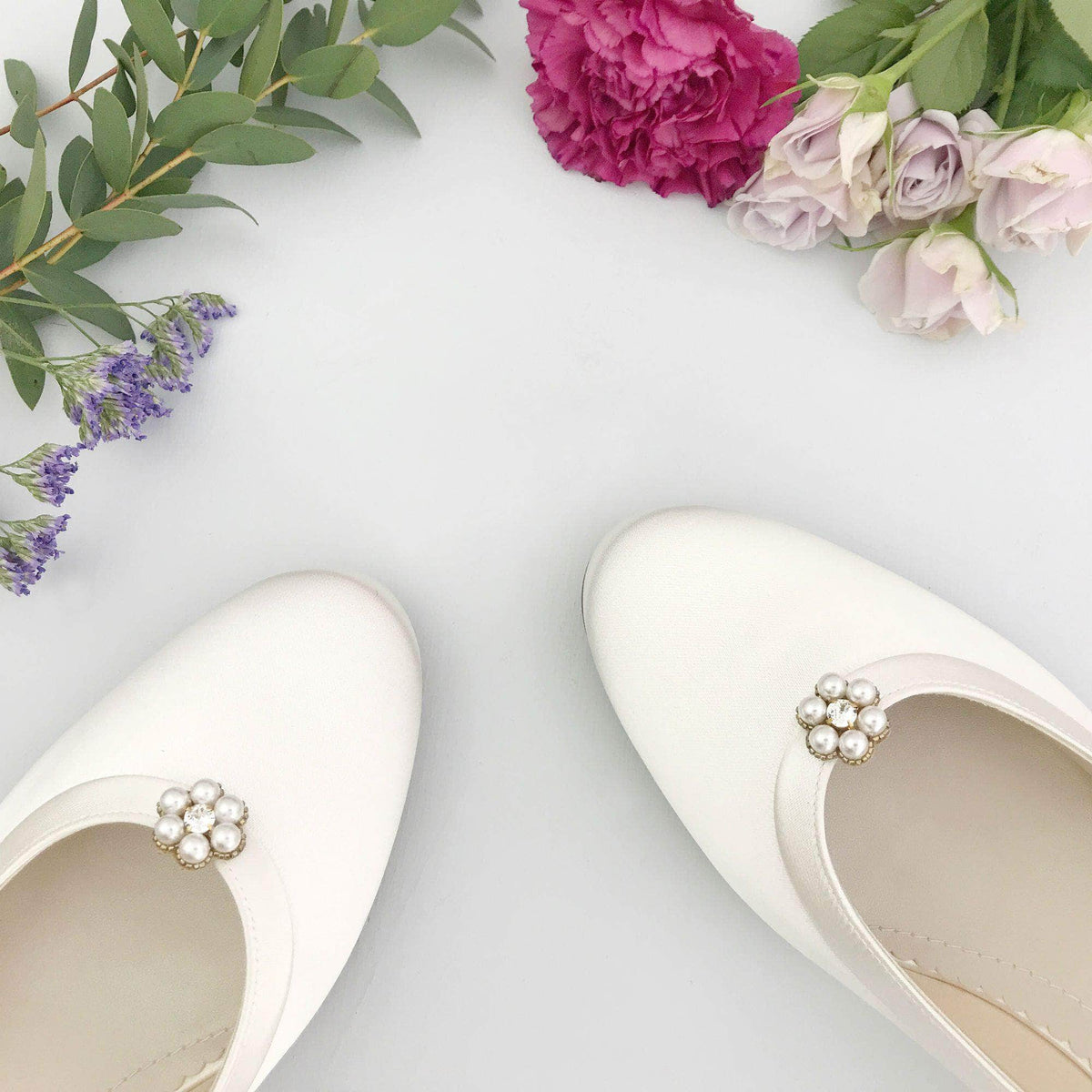 Wedding Shoe Clip Gold Flower pearl wedding shoe clips - 'Fleur'