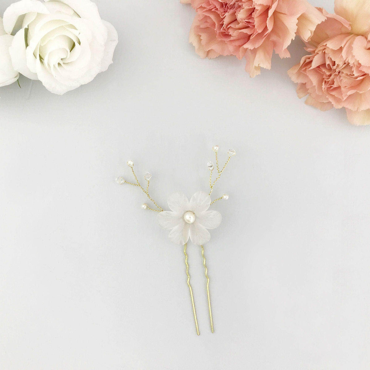 Wedding Hairpin Gold Gold pearl bridal pin - 'Myra'