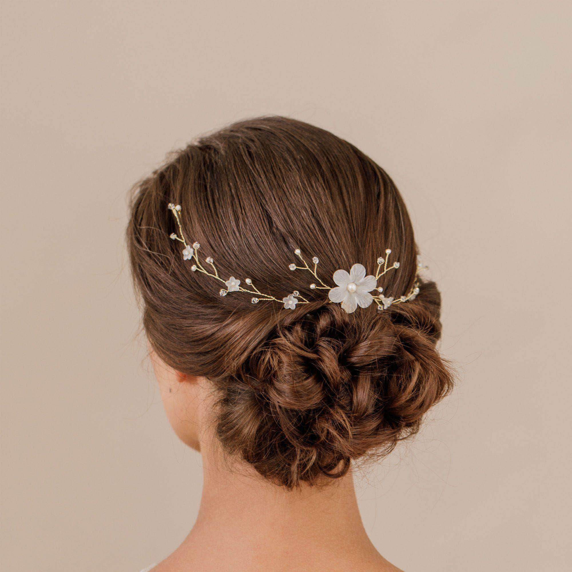 Wedding Hairvine Gold pearl multipiece with small centrepiece  - 'Myra'
