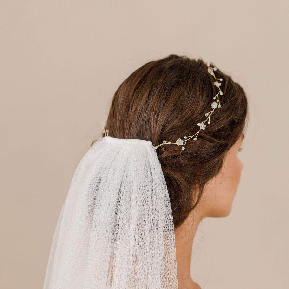Wedding Hairvine Silver Silver pearl extra long hair vine - 'Myra'
