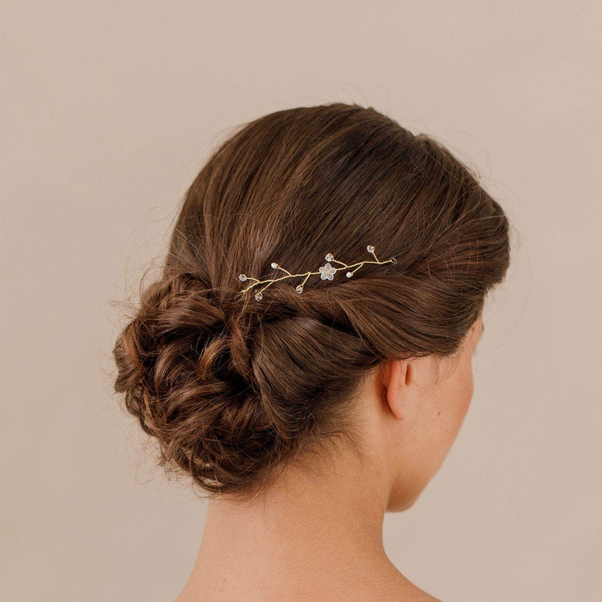 Wedding Hairvine Gold Gold pearl mini hair vine - 'Myra'
