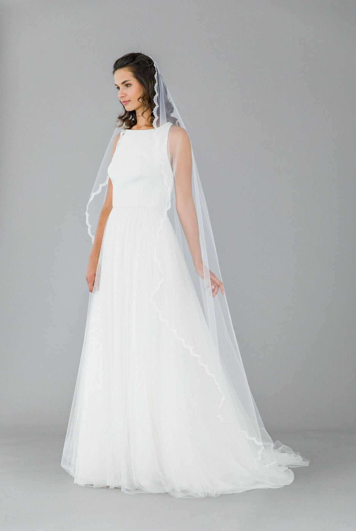 Wedding Veil Full lace edged barely there wedding veil - 'Adeline'