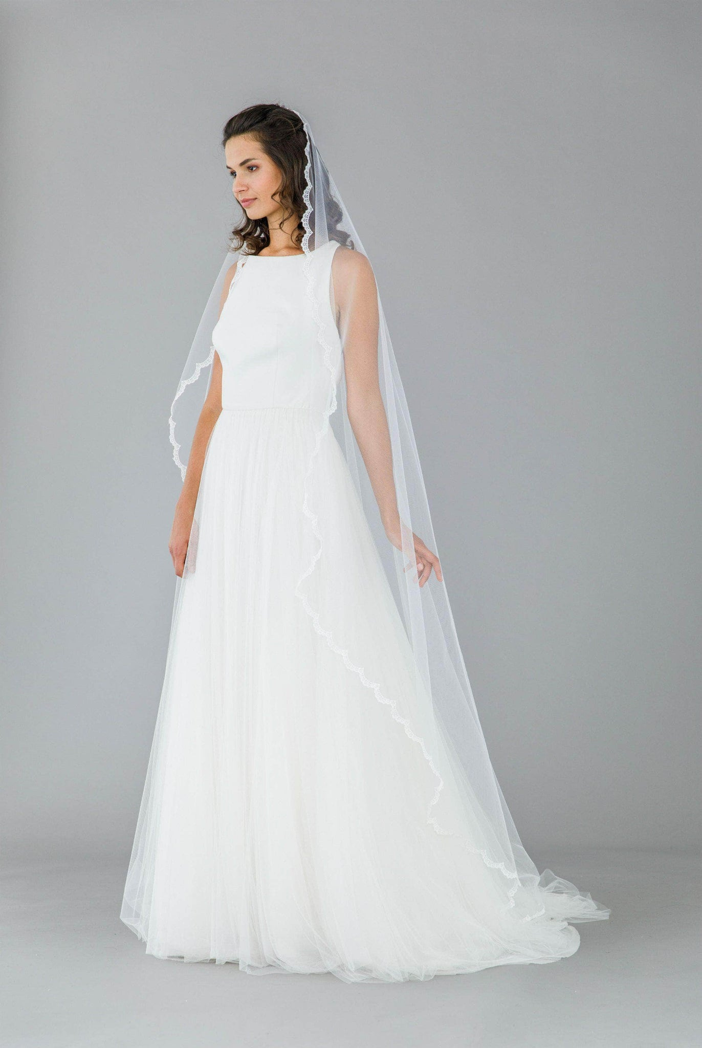 barely there lace edge veil