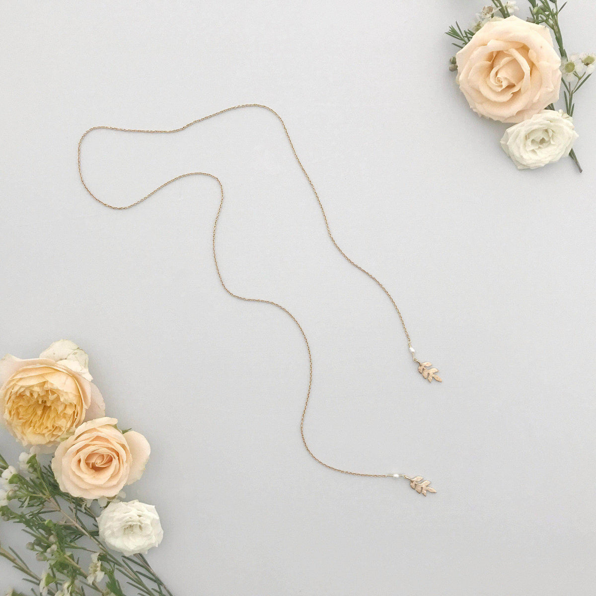 Wedding Necklace Gold Gold leaf lariat for wedding - 'Avani'