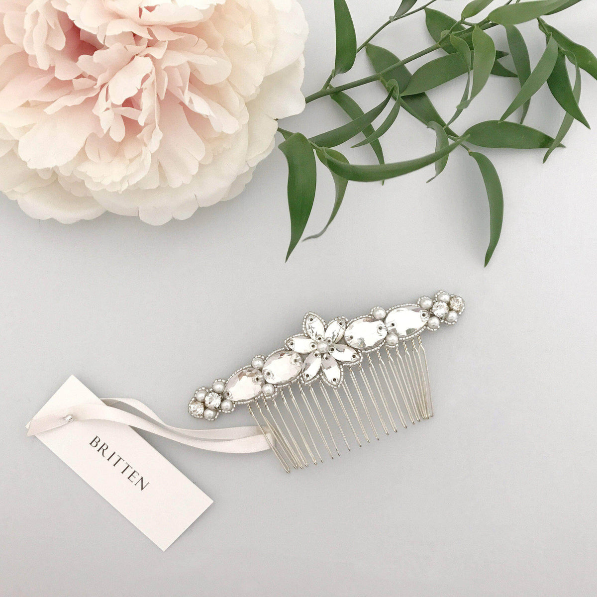 Wedding Haircomb Silver Silver crystal and pearl wedding hair comb - 'Honoria'