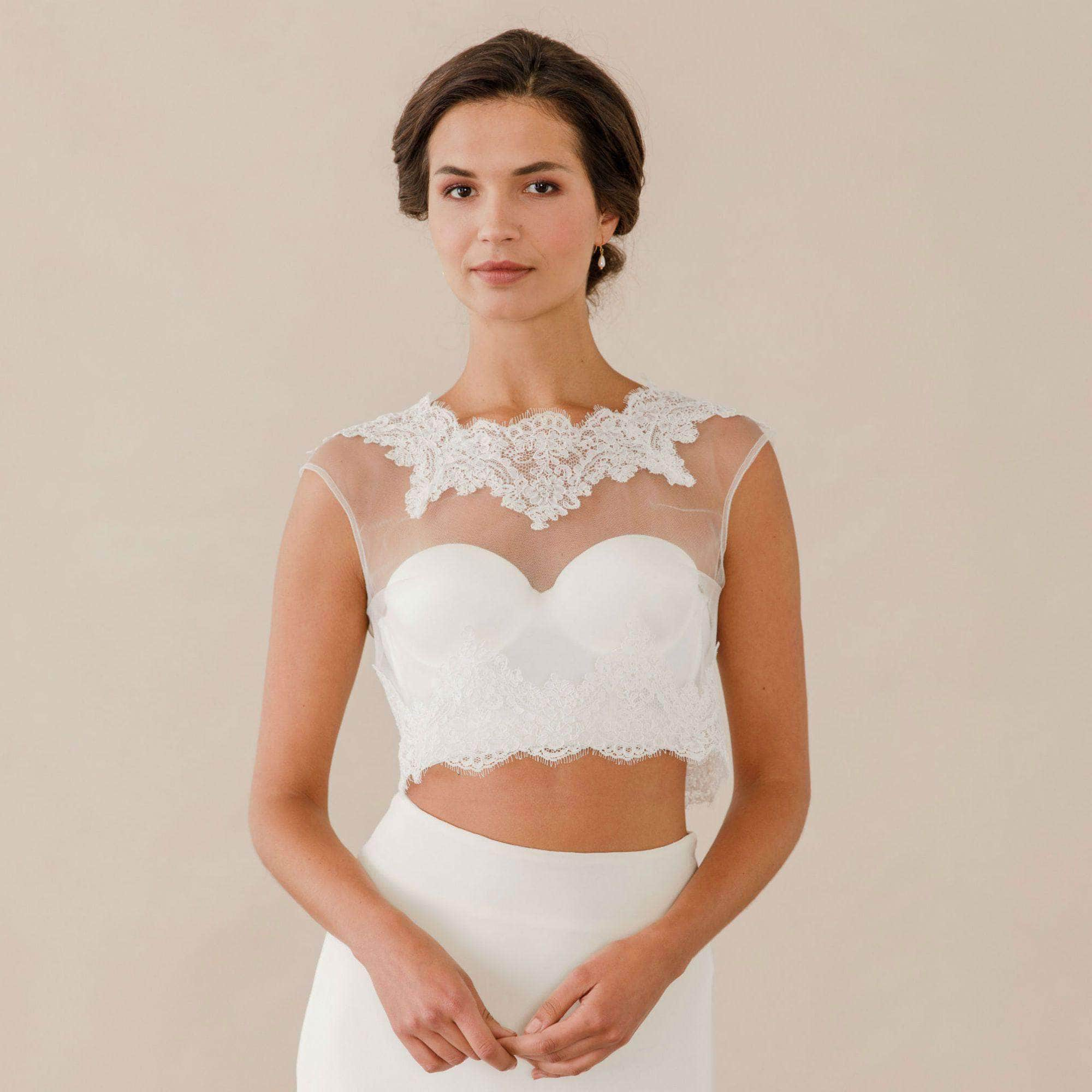 Lace and tulle cover up with pearl button up back- Adela   Britten