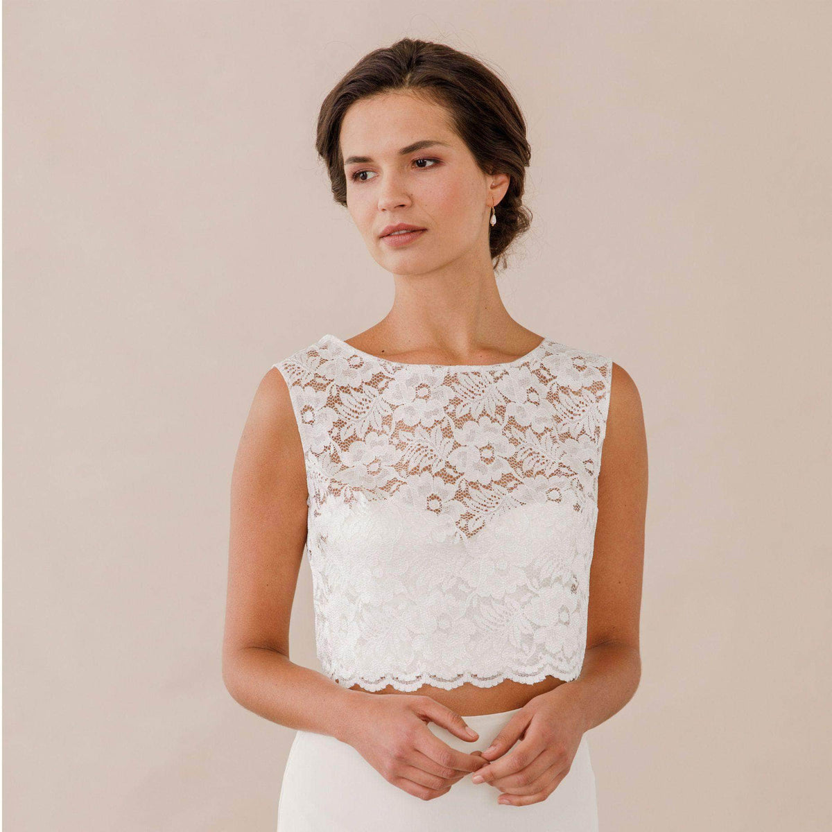 Wedding Cover Up Lace cover up with pearl button up back - 'Minna'
