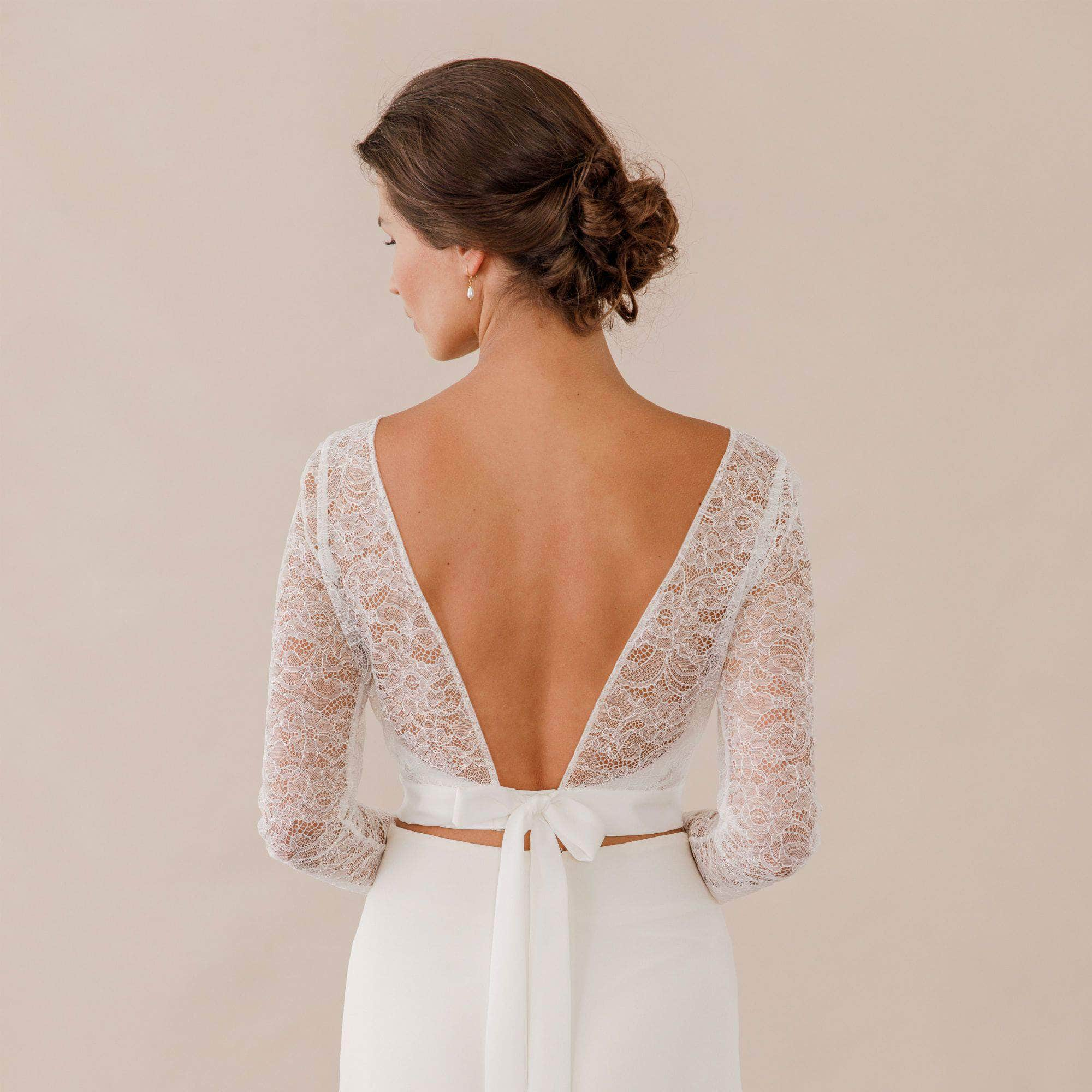 Wedding Cover Up Lace cover up with silk tie up sash - 'Selma'