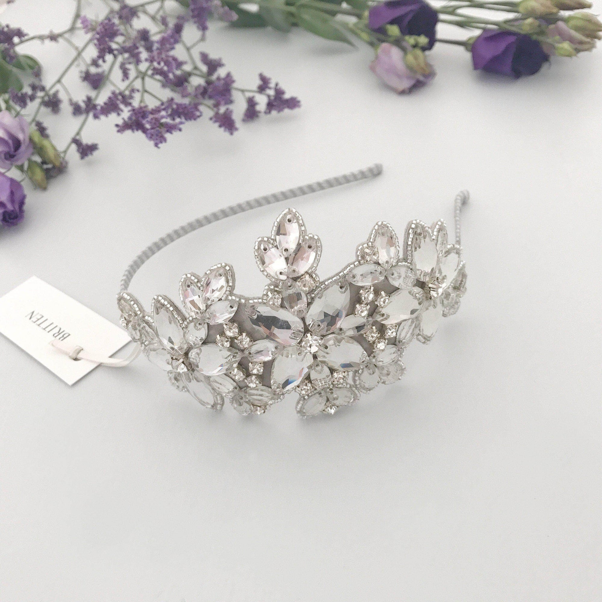 Wedding Headband Statement crystal wedding headband silver 'Laurie'