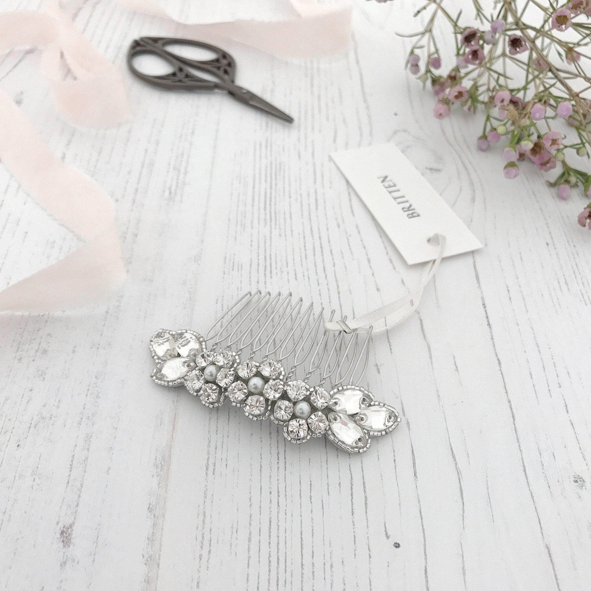 Wedding Haircomb Silver Silver wedding hair comb with super sparkle centre - 'Livia'