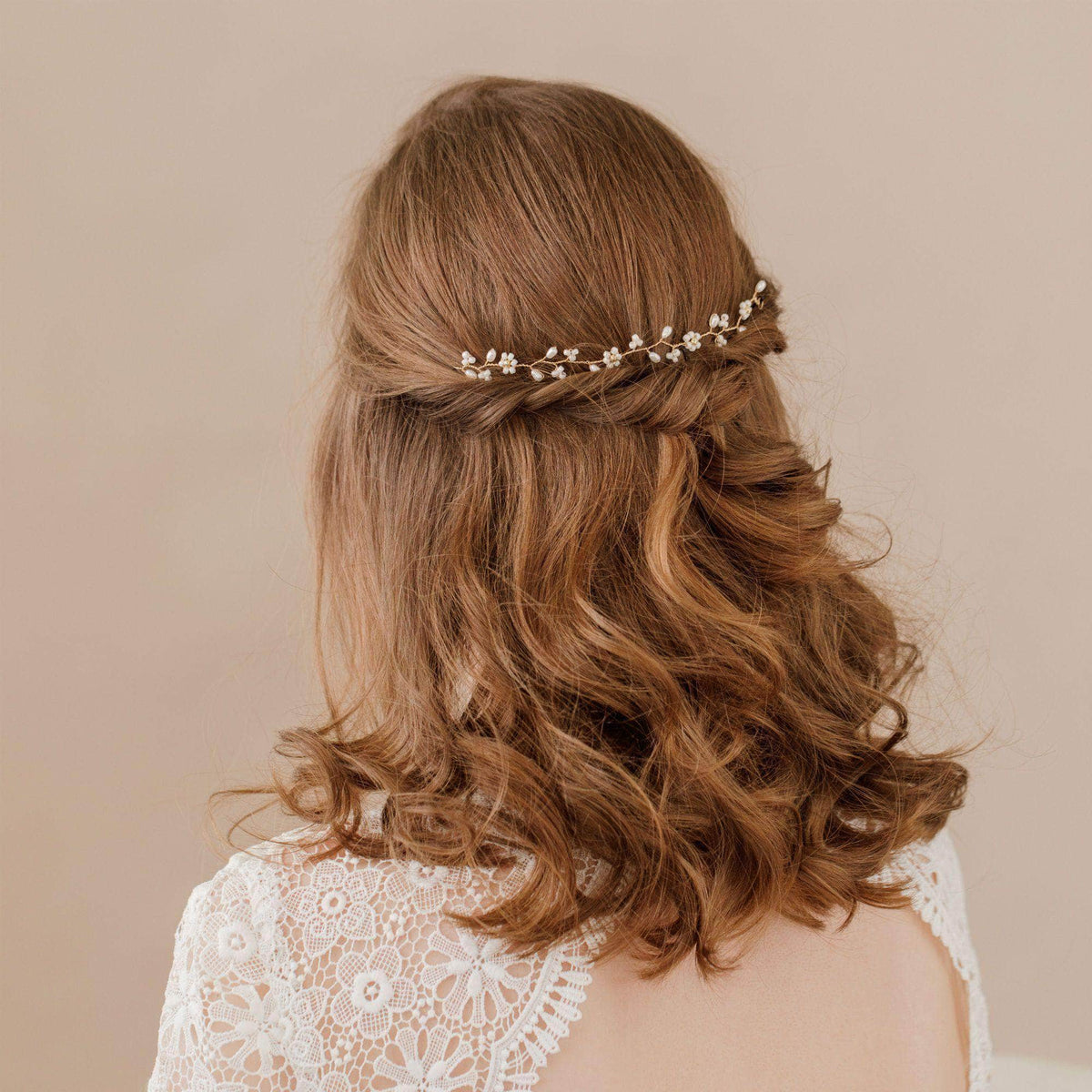 Wedding Hairvine Gold floral medium length hair vine - 'Flora'