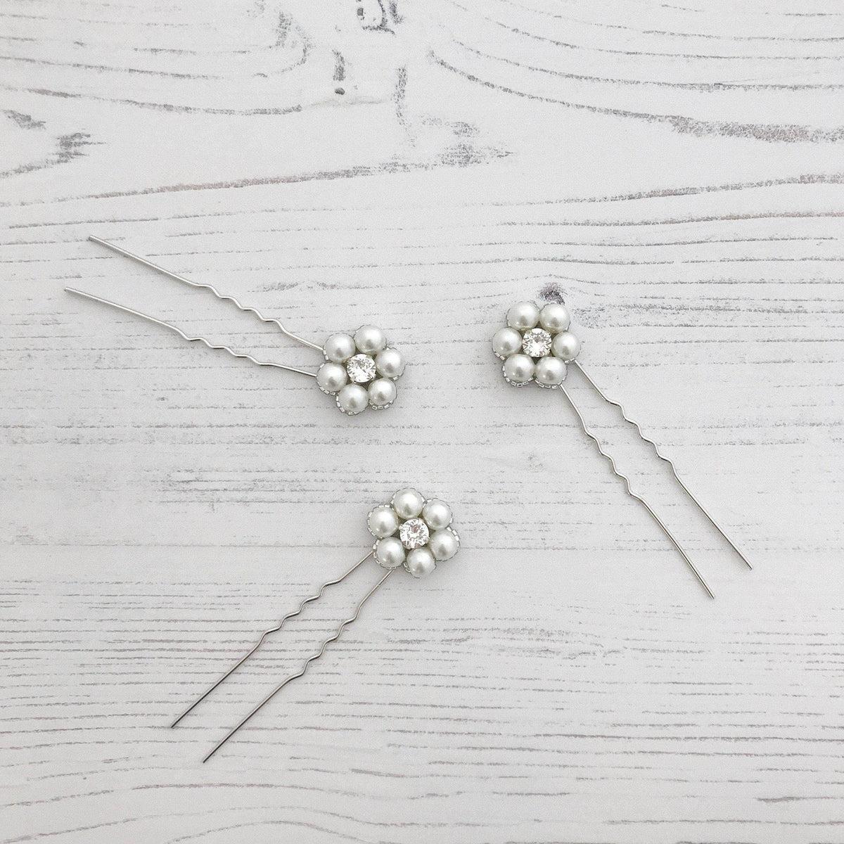 Wedding Hairpin Flower wedding hair pins in crystal and pearl (x3) - 'Lucie'