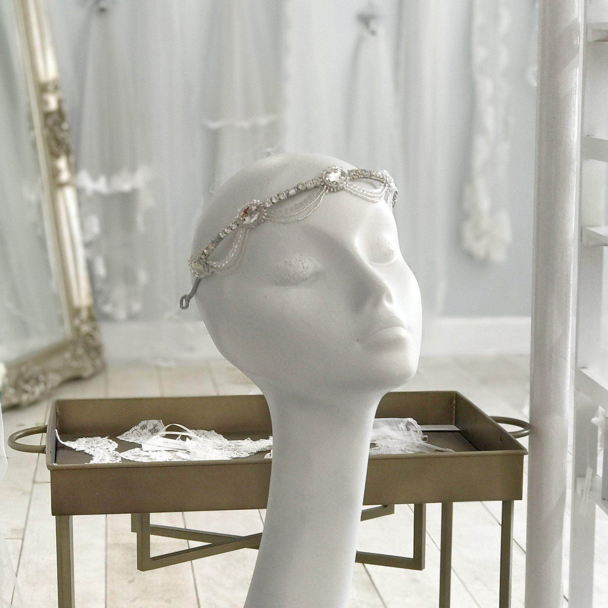 Wedding Headband Silver Statement wedding headband - 'Luna'