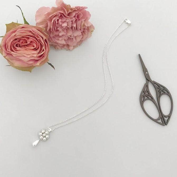 Wedding Necklace Silver Pearl drop flower wedding necklace - 'Mili'