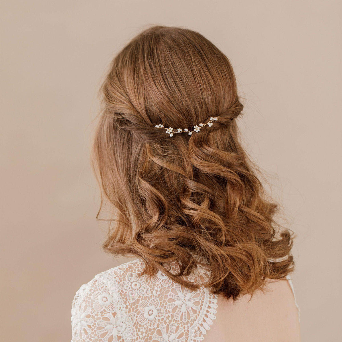Wedding Hairvine Gold Gold floral mini hair vine - 'Flora'