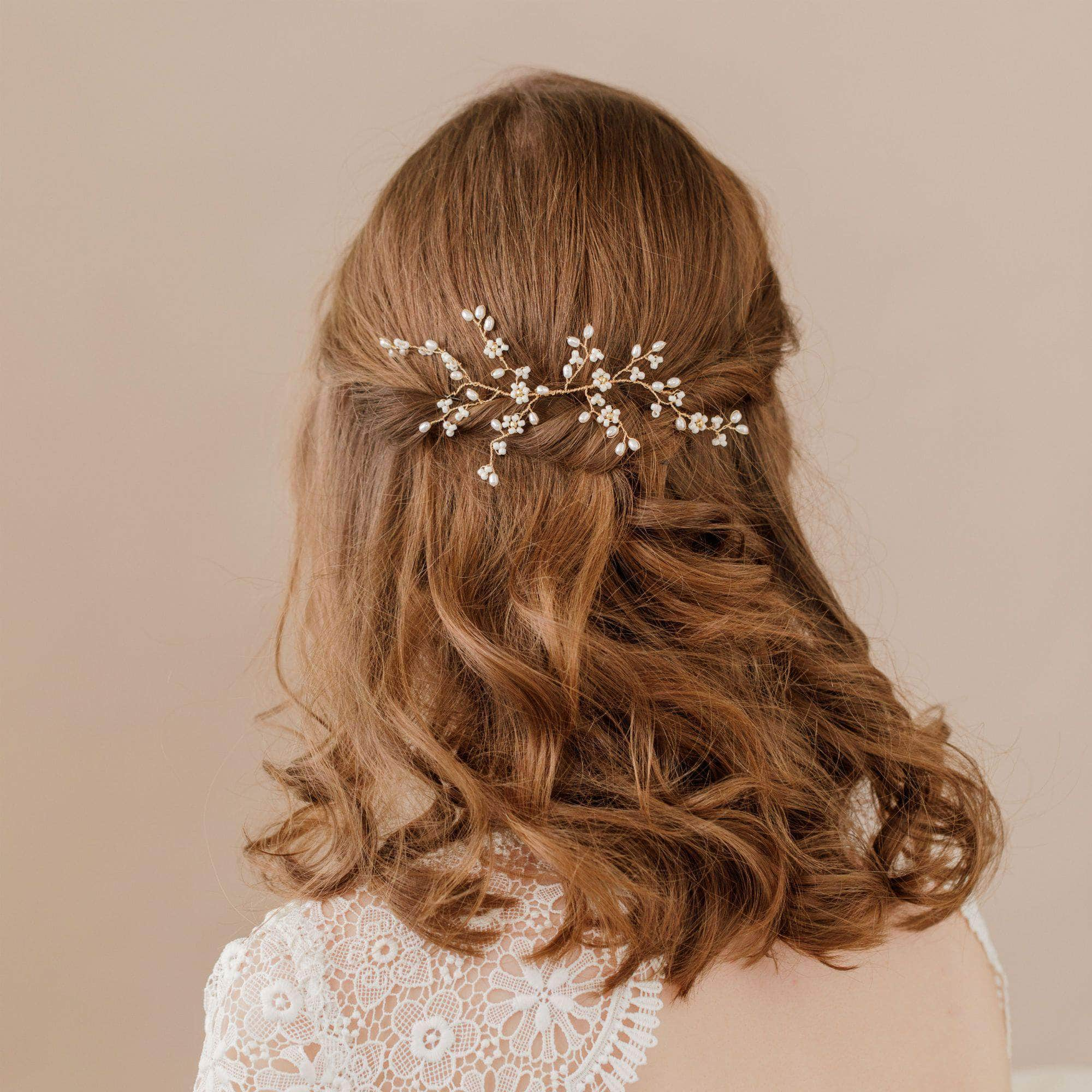 Wedding Hairvine Gold floral medium hair centrepiece - 'Flora'