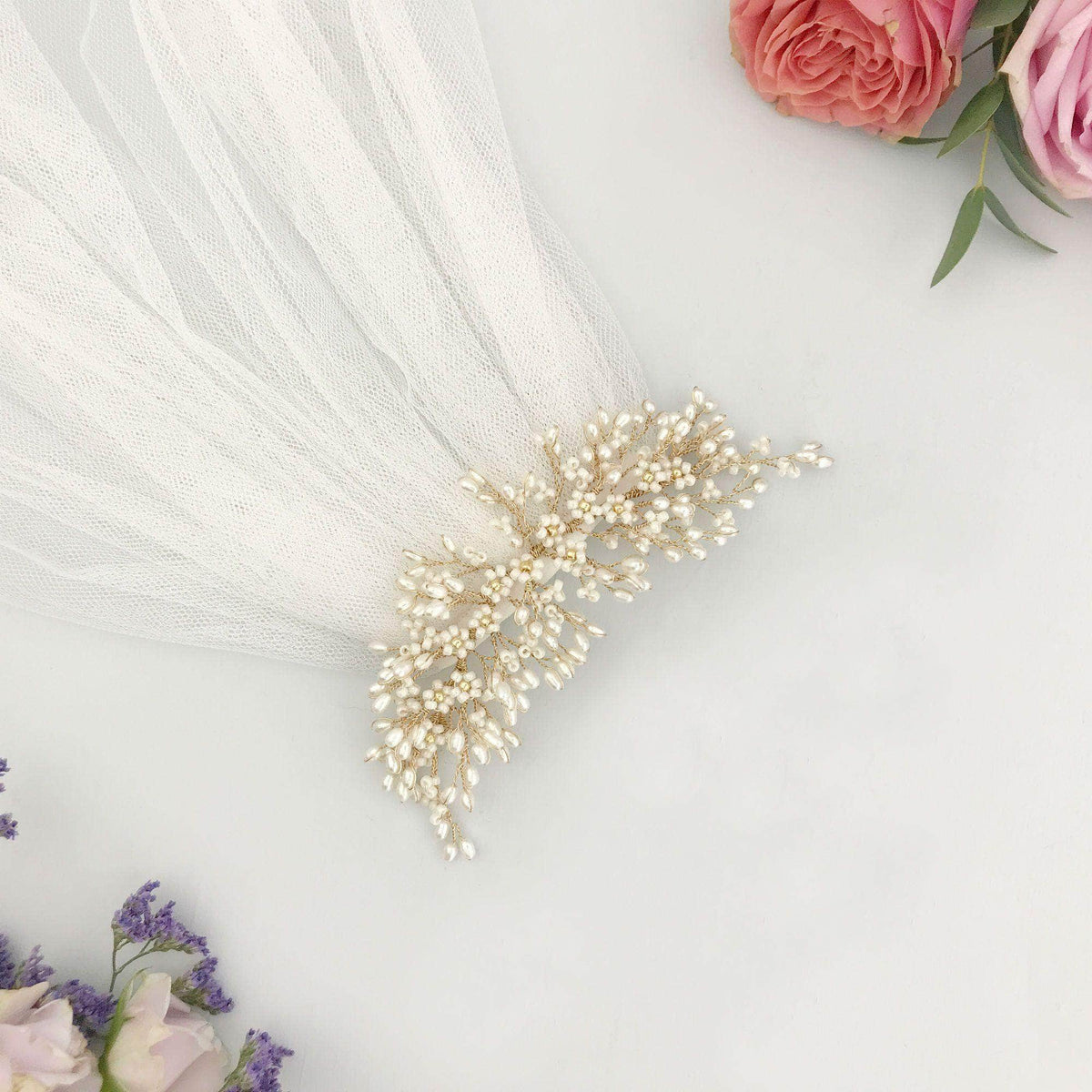 Full floral freshwater pearl hair centrepiece on gold plated wire