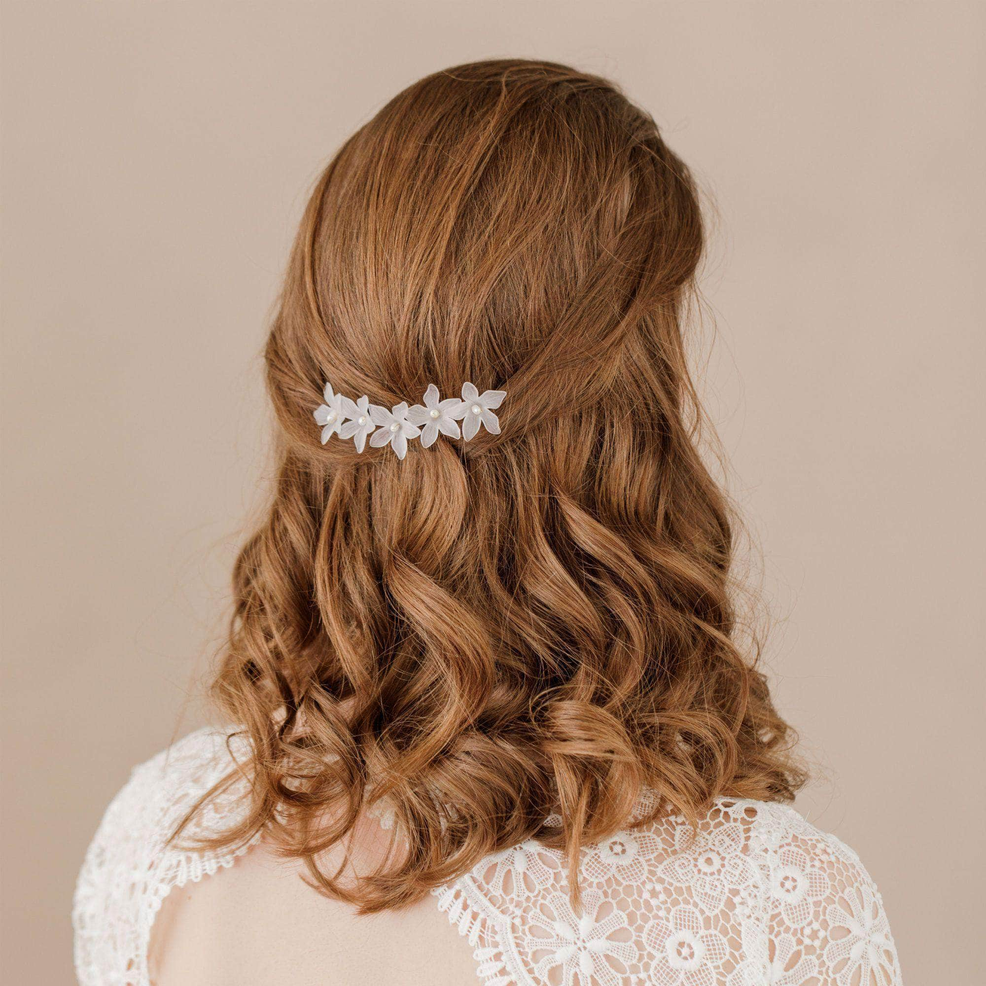 Wedding Hairvine Gold floral pearl hair centrepiece - 'Elsa'