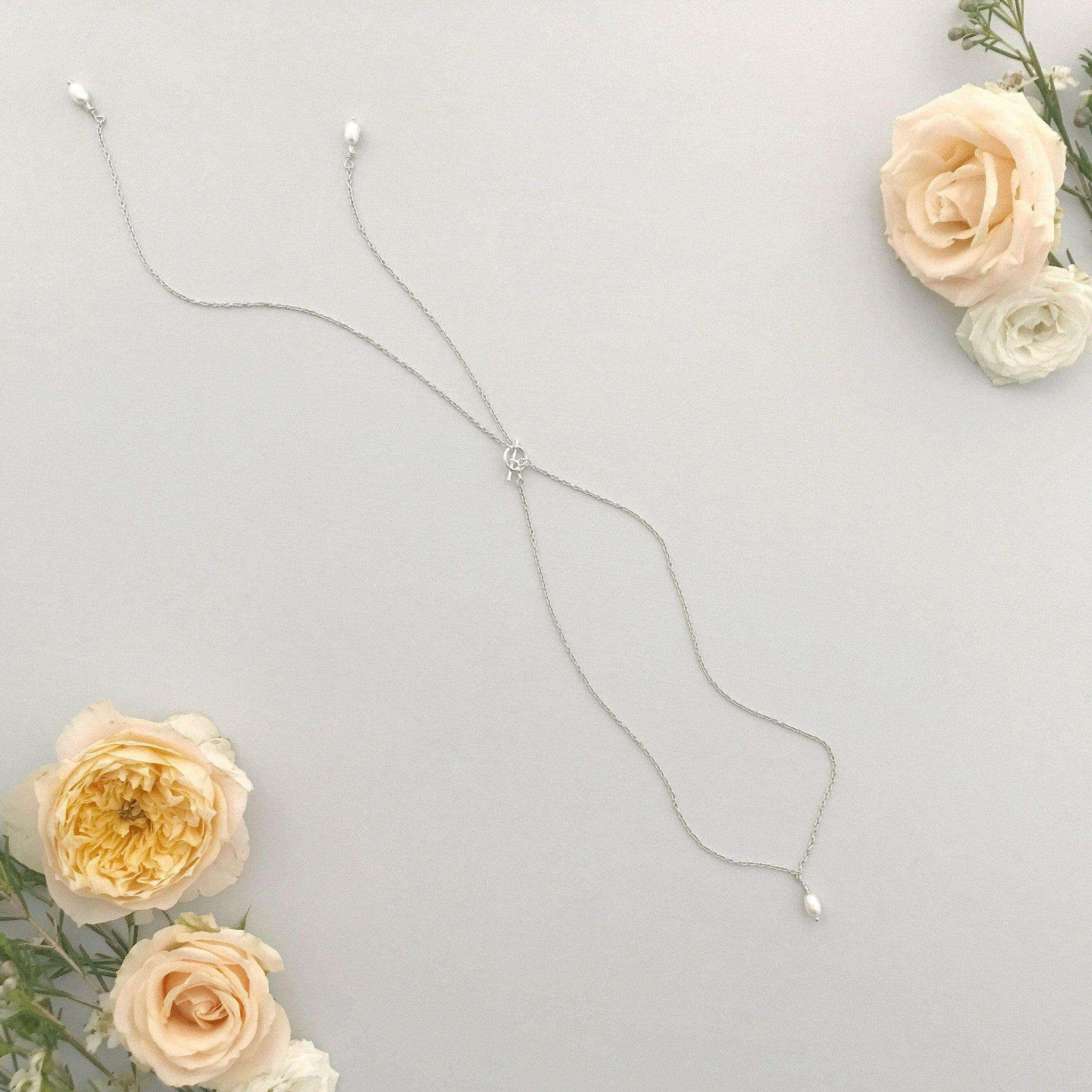 pearl back drop wedding necklace
