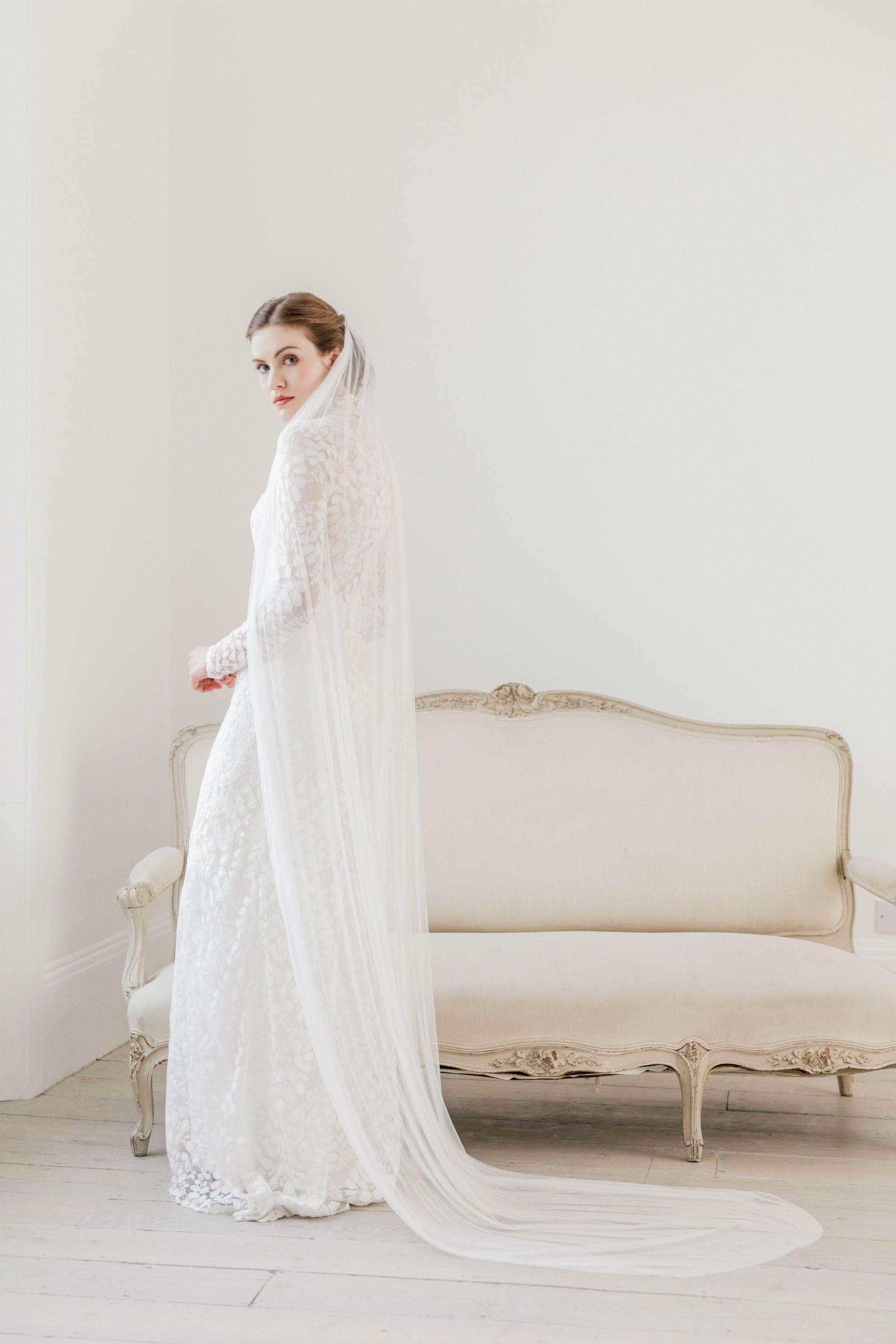Wedding Veil Pure soft silk single tier cut edge wedding veil - 'Clara'