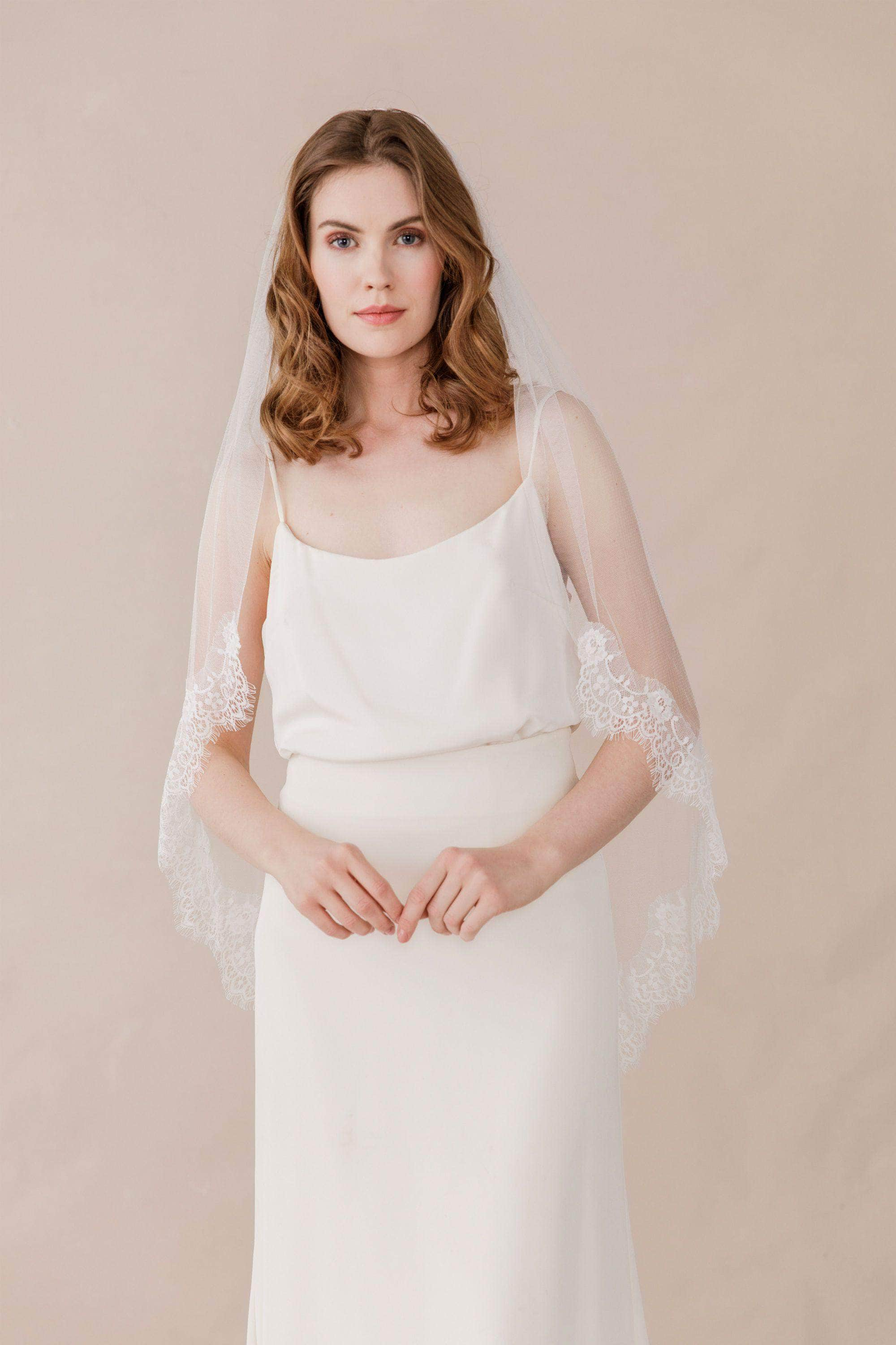 Wedding Veil Semi edged silk style wedding veil with eyelash lace - 'Kayla'