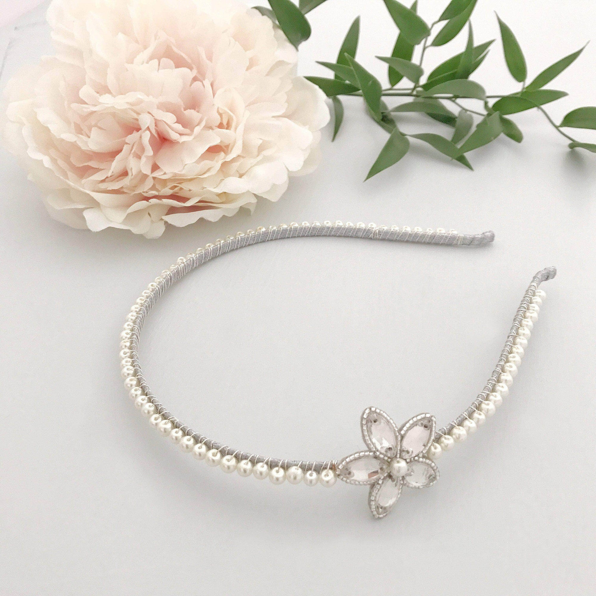 Wedding Headband Silver / Silver sparkle (as in images) Pearl and flower silver wedding headband 'Sia'