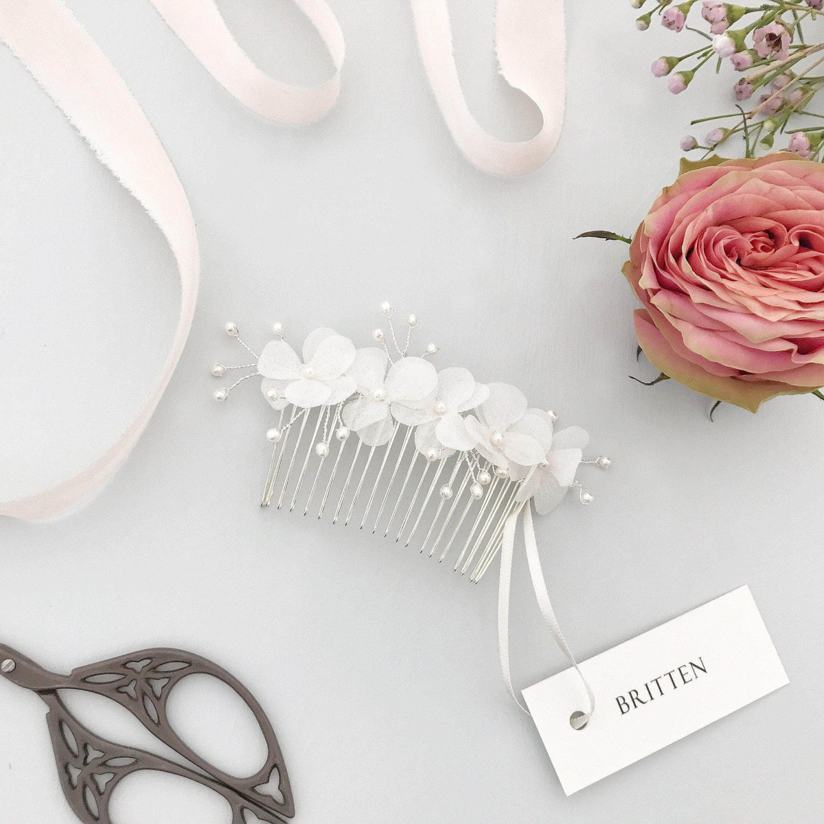 Silk flower comb for a bride - 'Sulis'