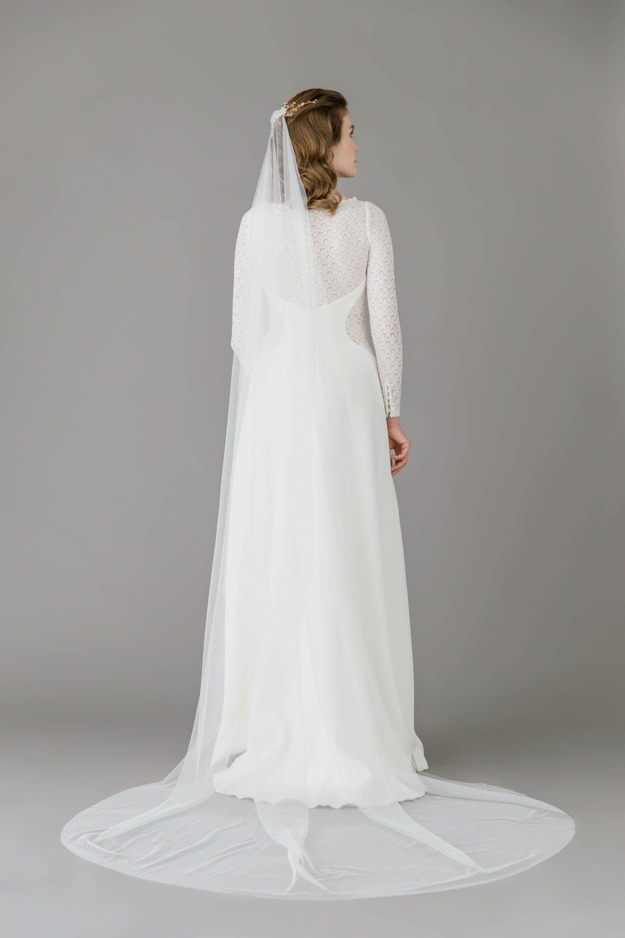 Silk style barely there wedding veil - 'Ilona'
