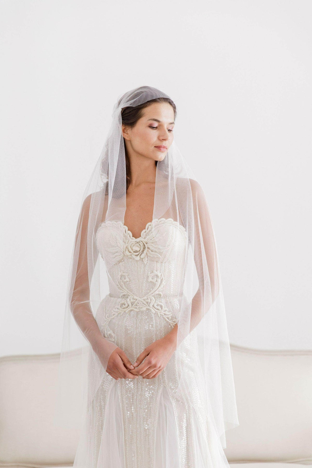 Wedding Veil Silk style juliet cap wedding veil - 'Dorothy'